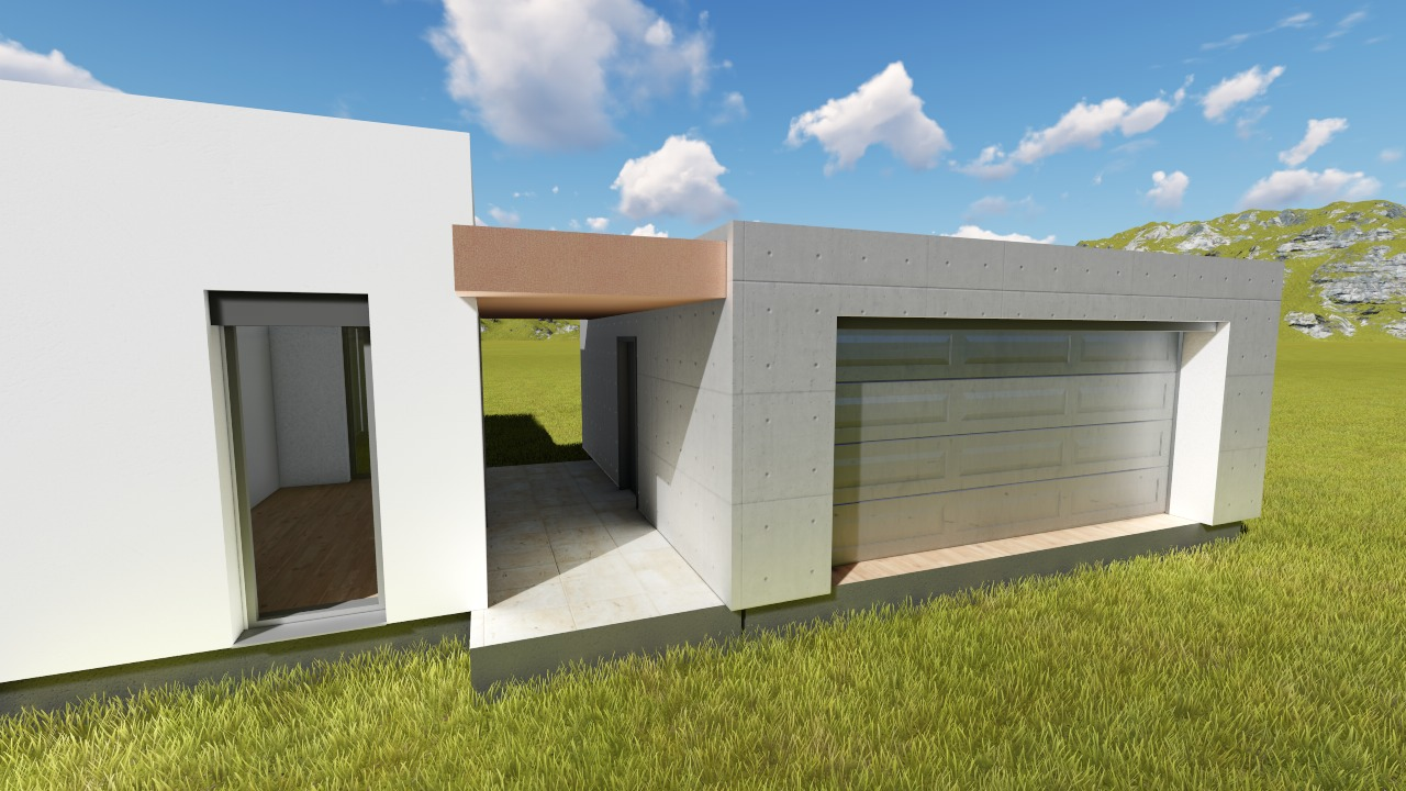 Family house with garage 3D model