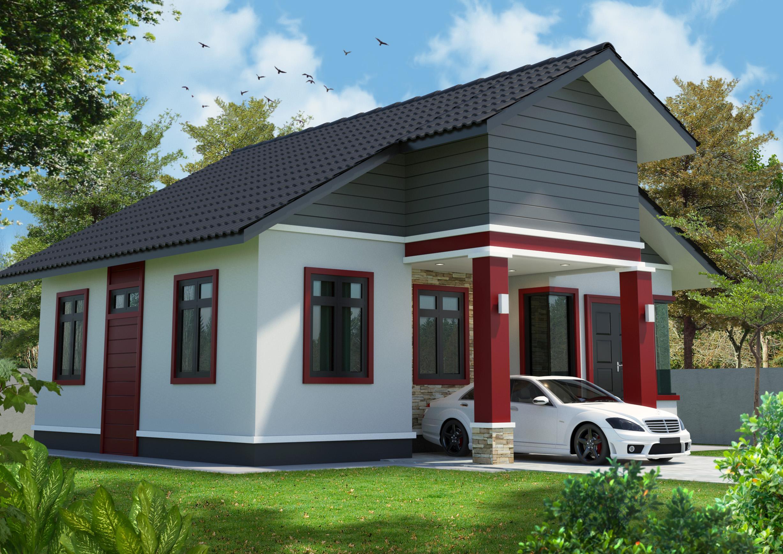 Single storey simple house 3d model left view