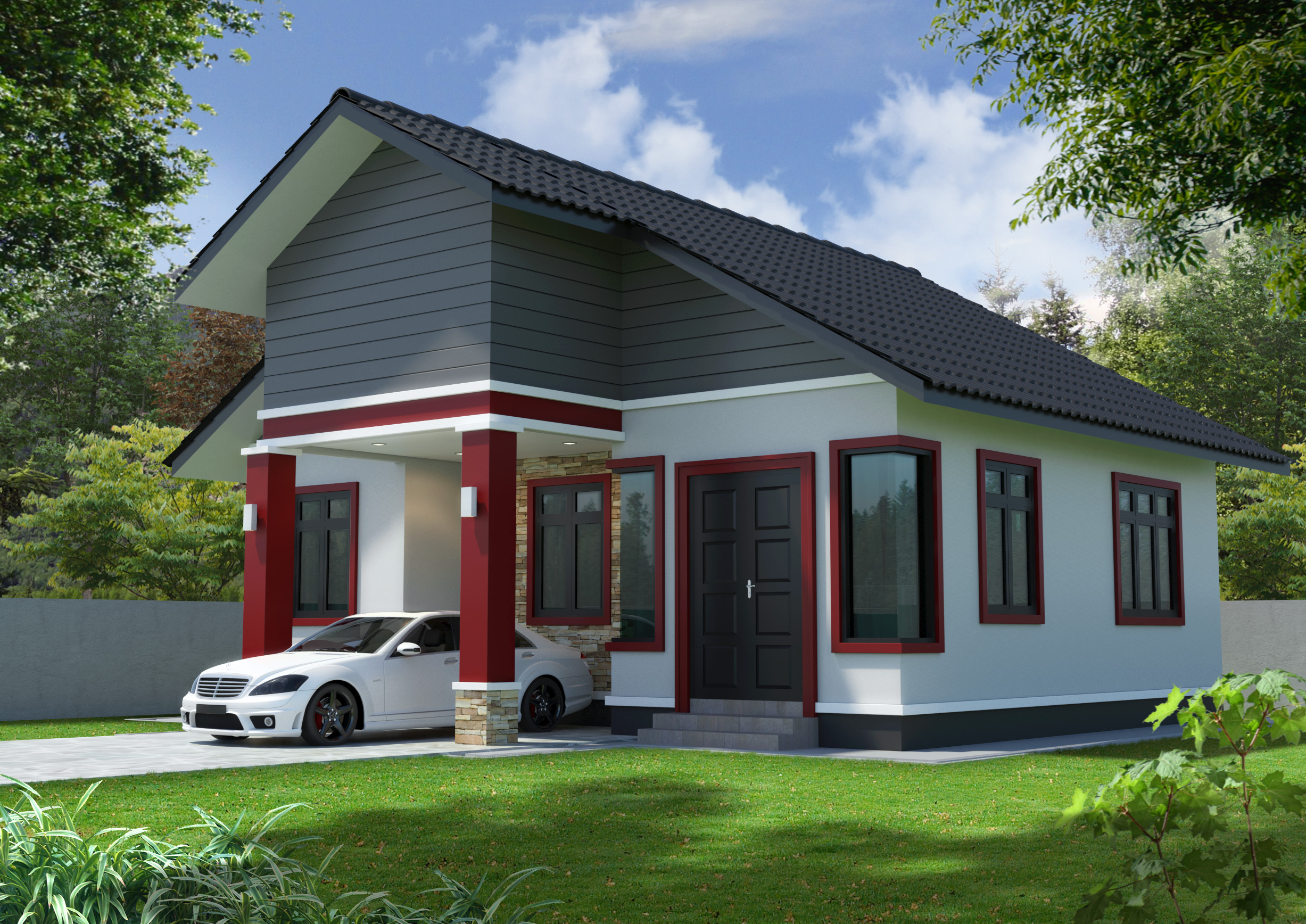 Single storey simple house 3d model right view