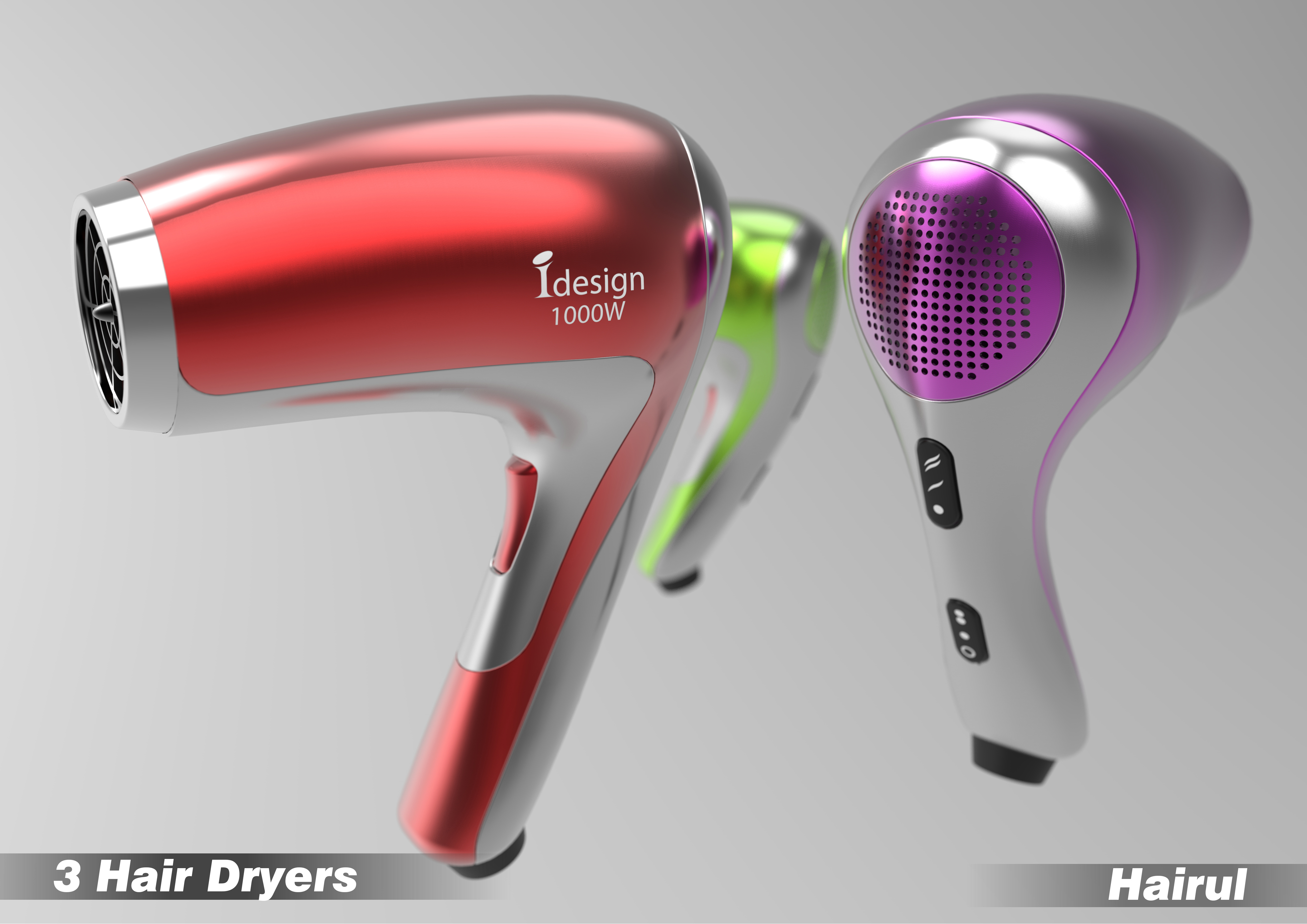 product modeling and visualisation lancers d product modeling and visualisation 3d model hairdryer self initiative project