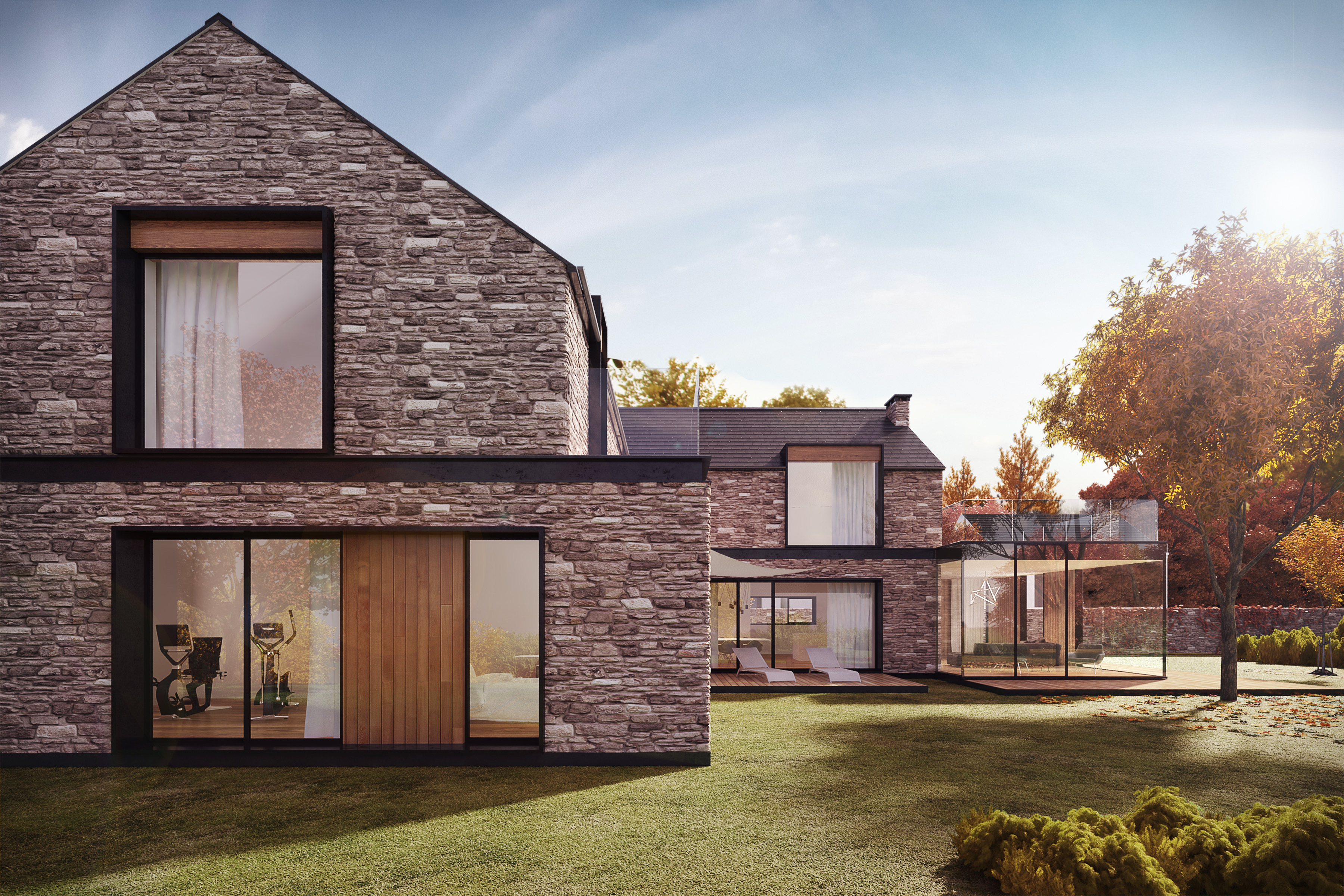 Modern country house with stone walls Freelancers 3D