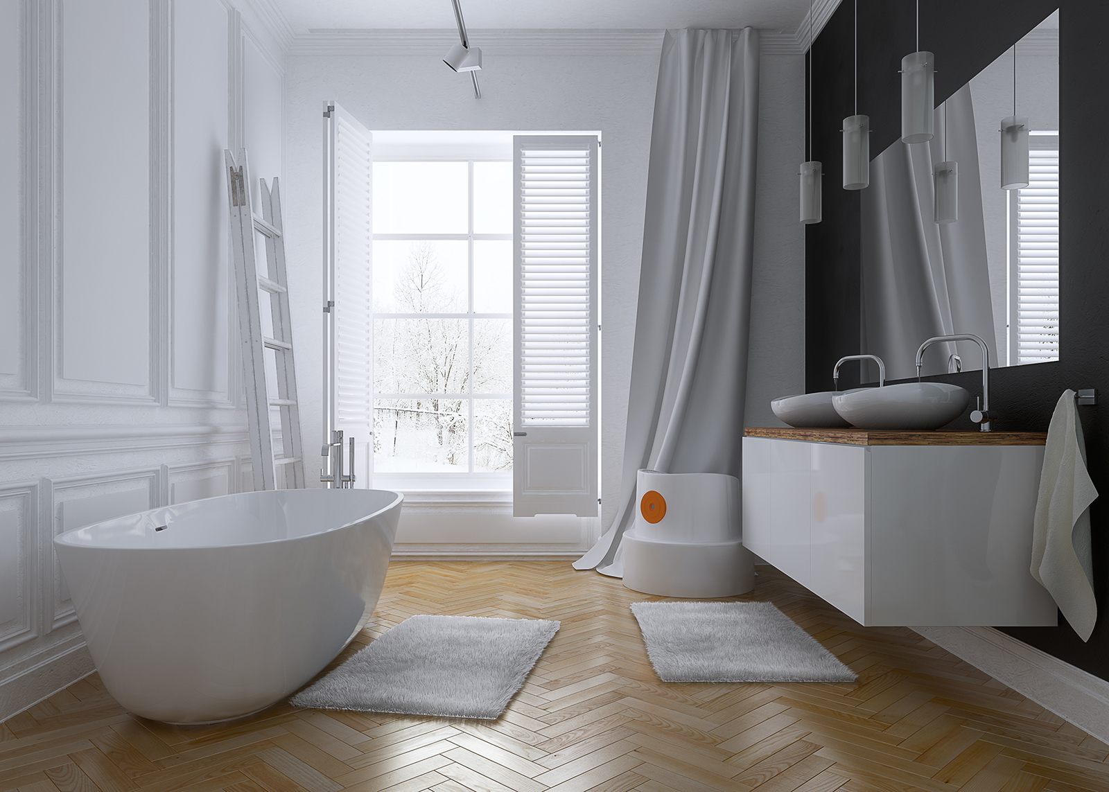 White Classic Bathroom | Freelancers 3D