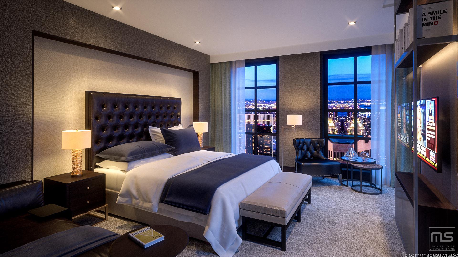 Mix Interior Renderings 3D model Bedroom
