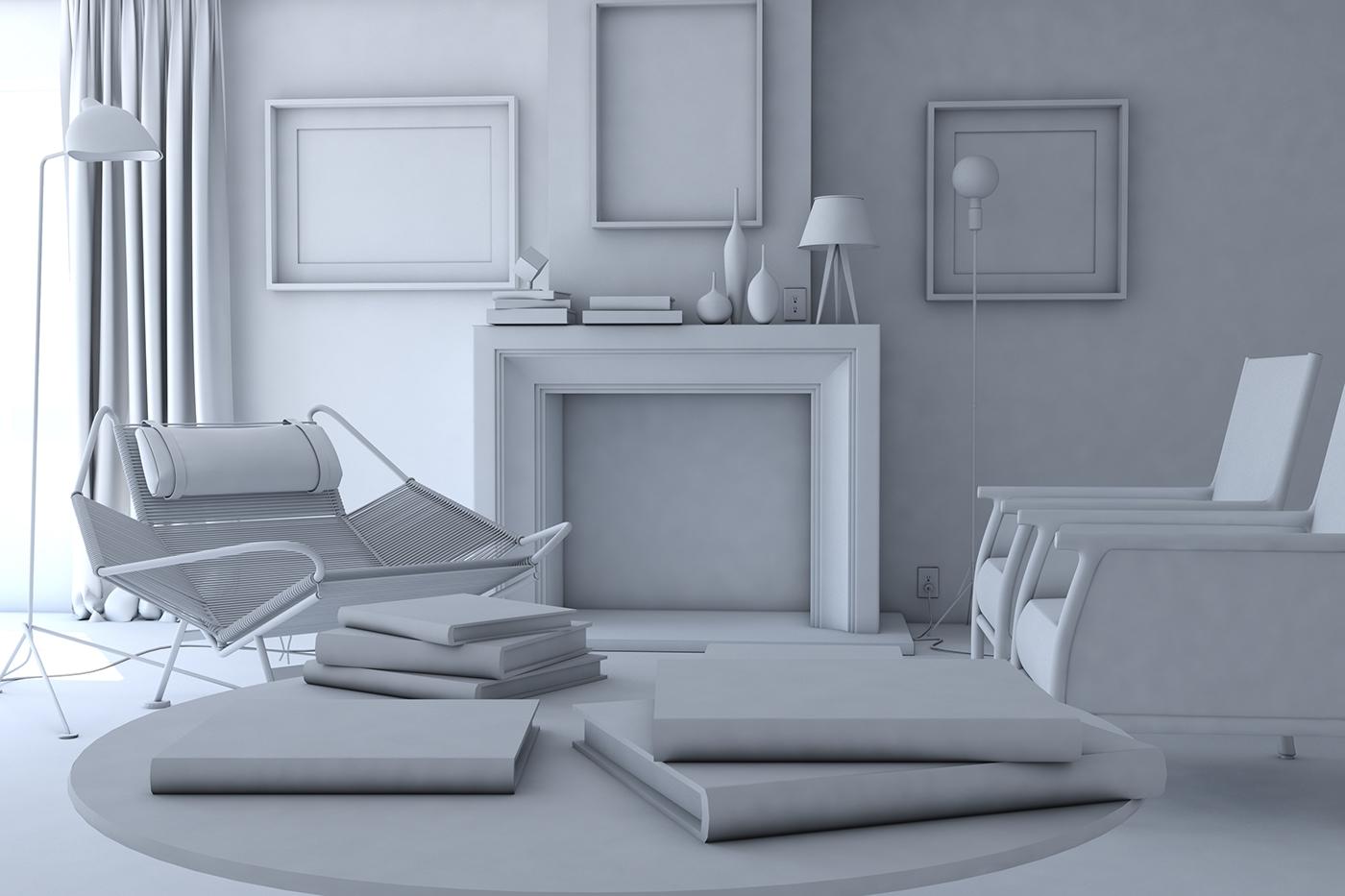 Living Room Interior 3D Model   Occlusion Render