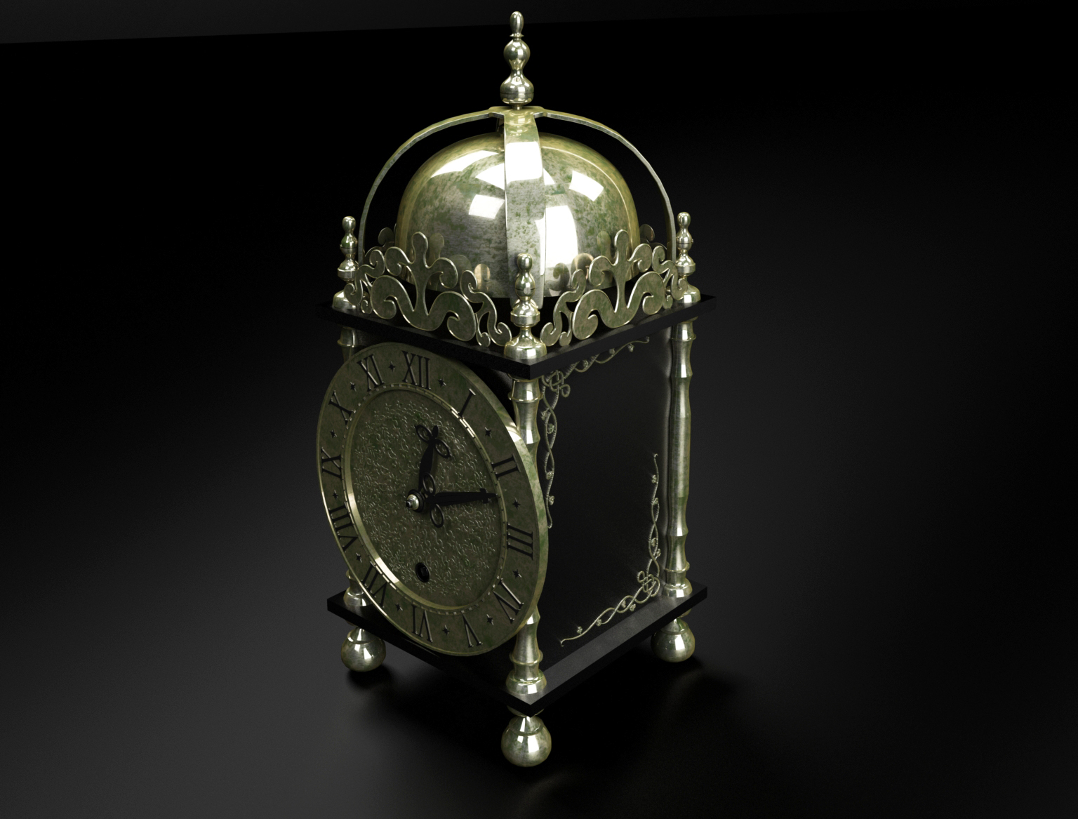 Object renders 3D model - Antique table clock