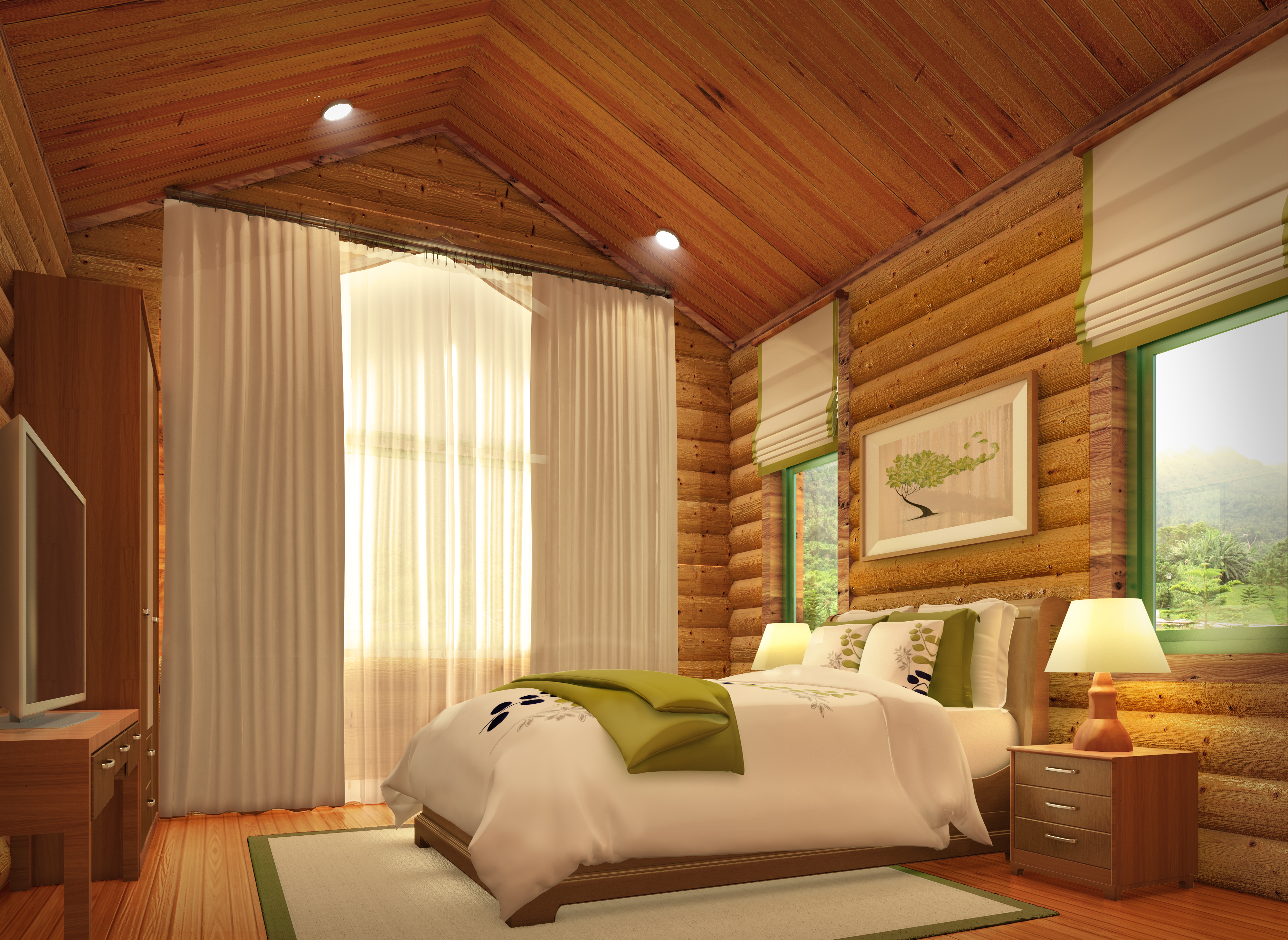 semi modern log cabin 3D model - Bedroom 1