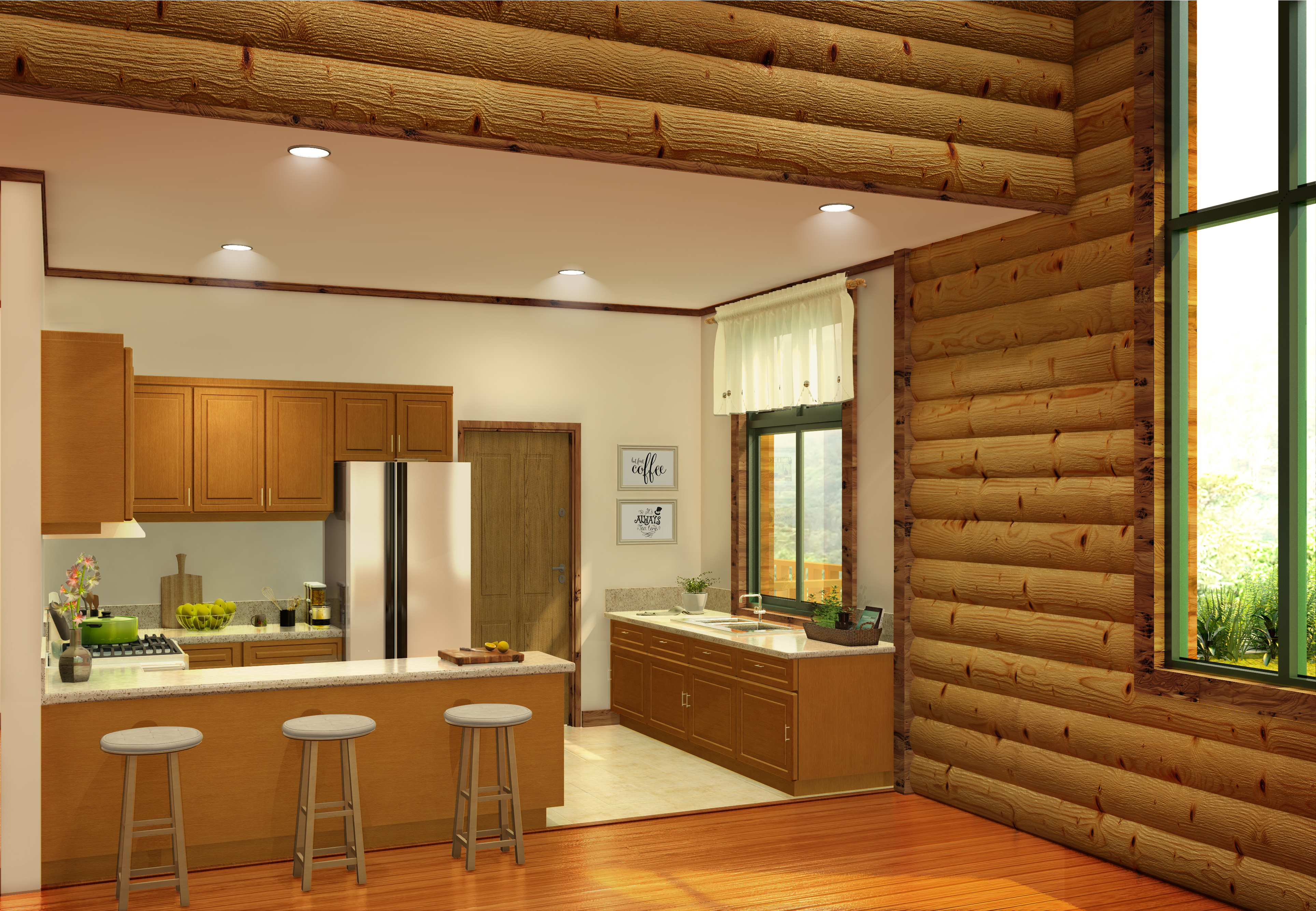 semi modern log cabin 3D model - Kitchen