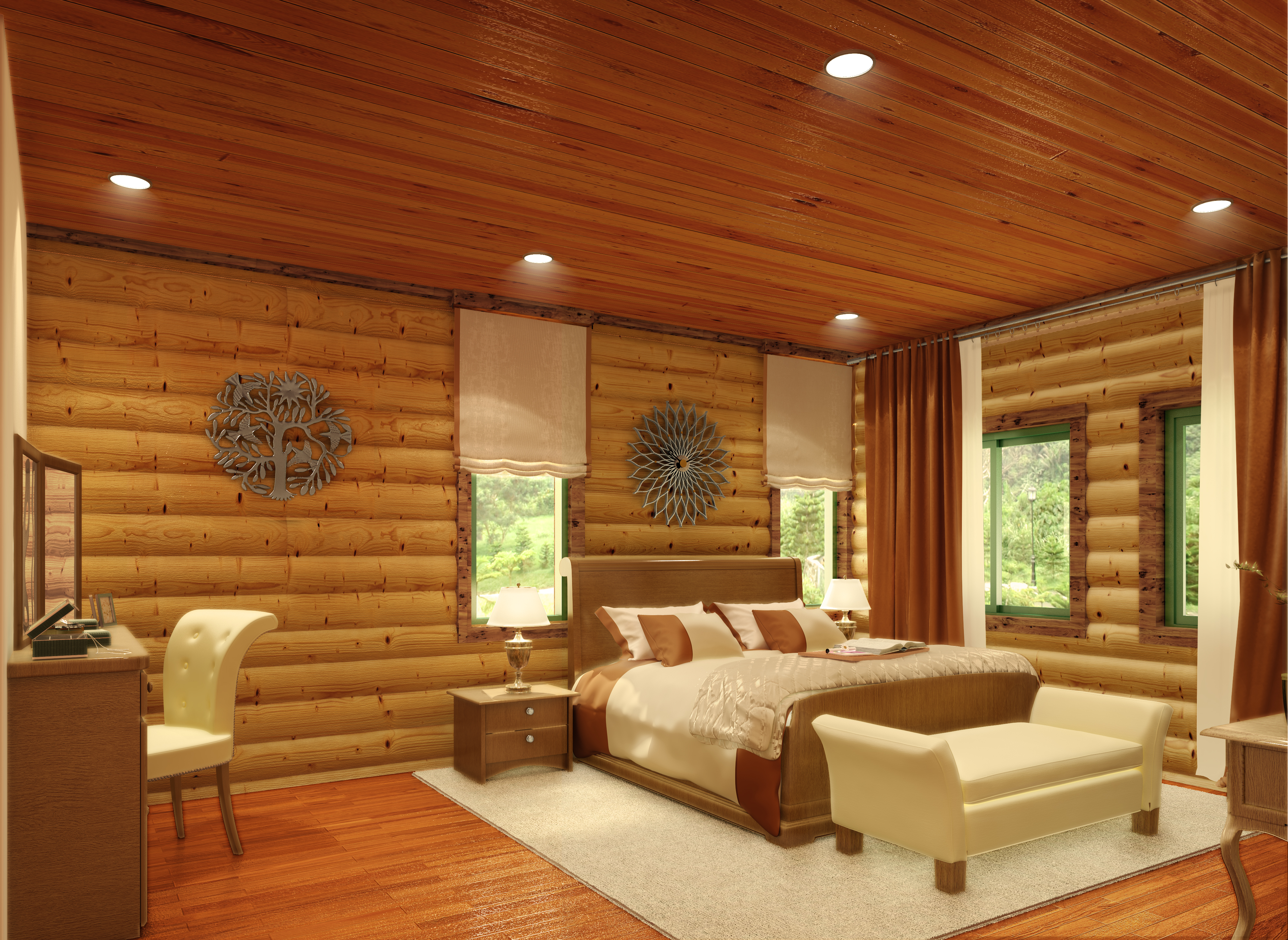 semi modern log cabin 3D model - Bedroom 2