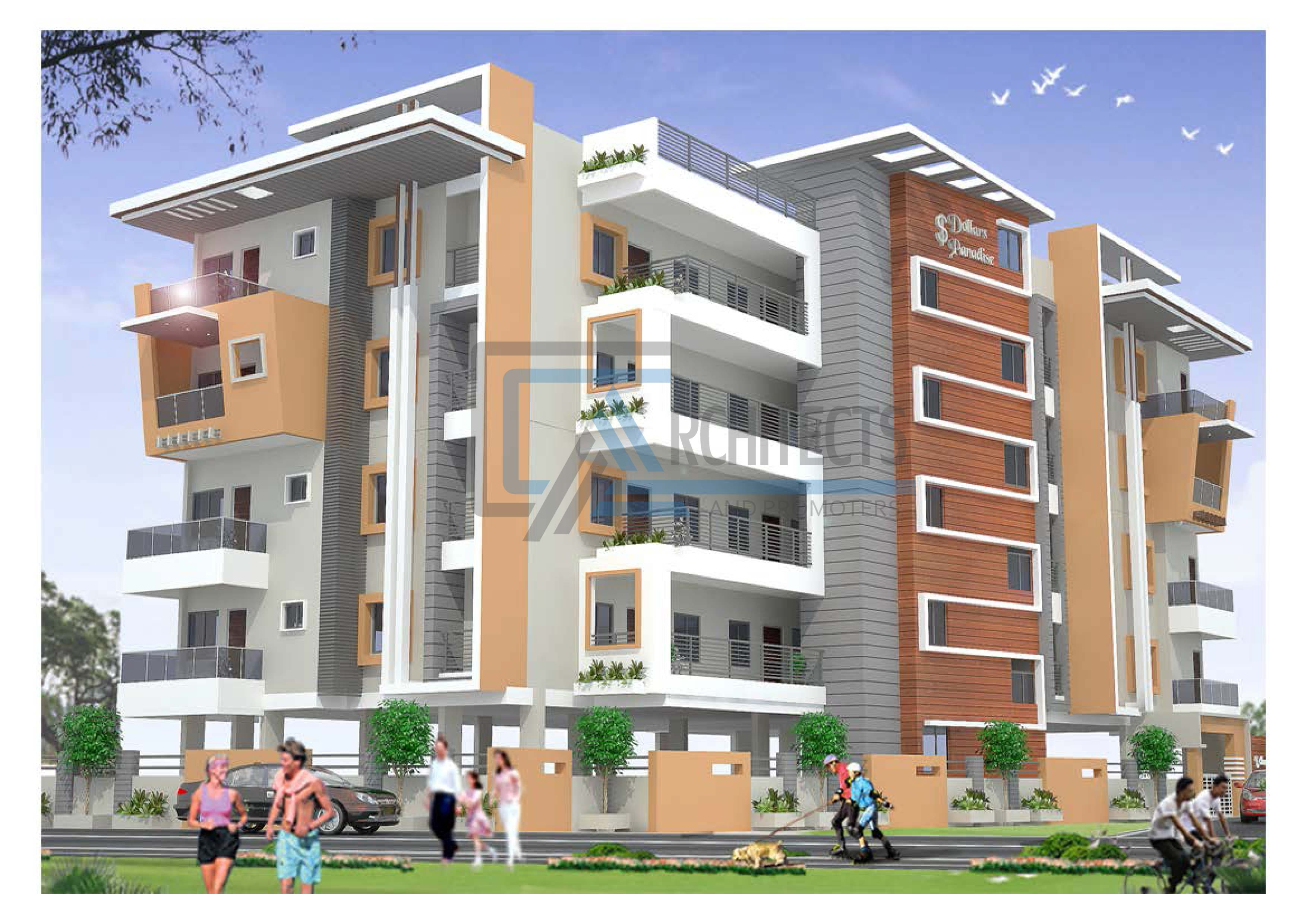 Apartment Exterior Elevation Rendering Model Using S Max And