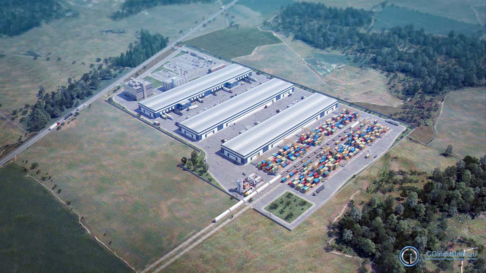 Visualization of industrial park  3D model - Visualization of industrial park