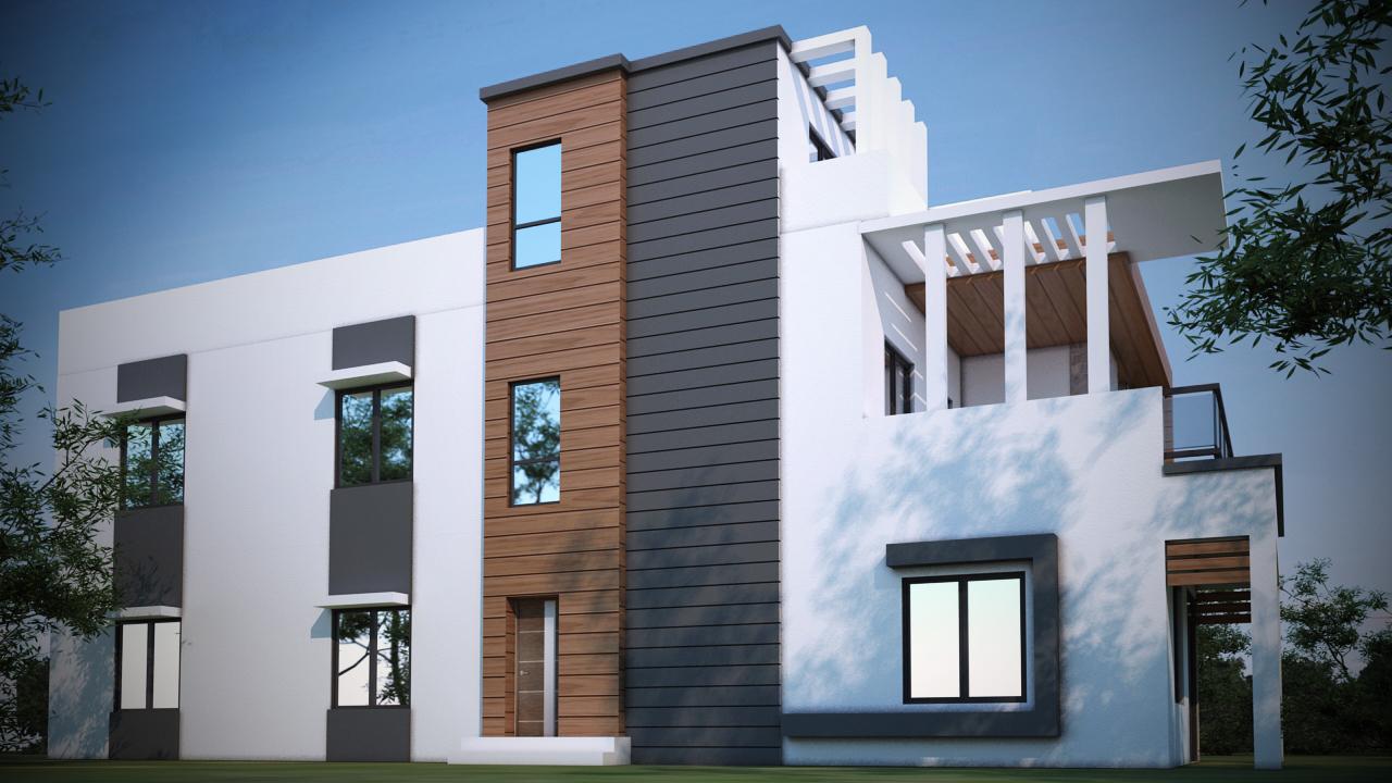 Duplex Elevation Design 3D Model   Duplex Elevation Side Design