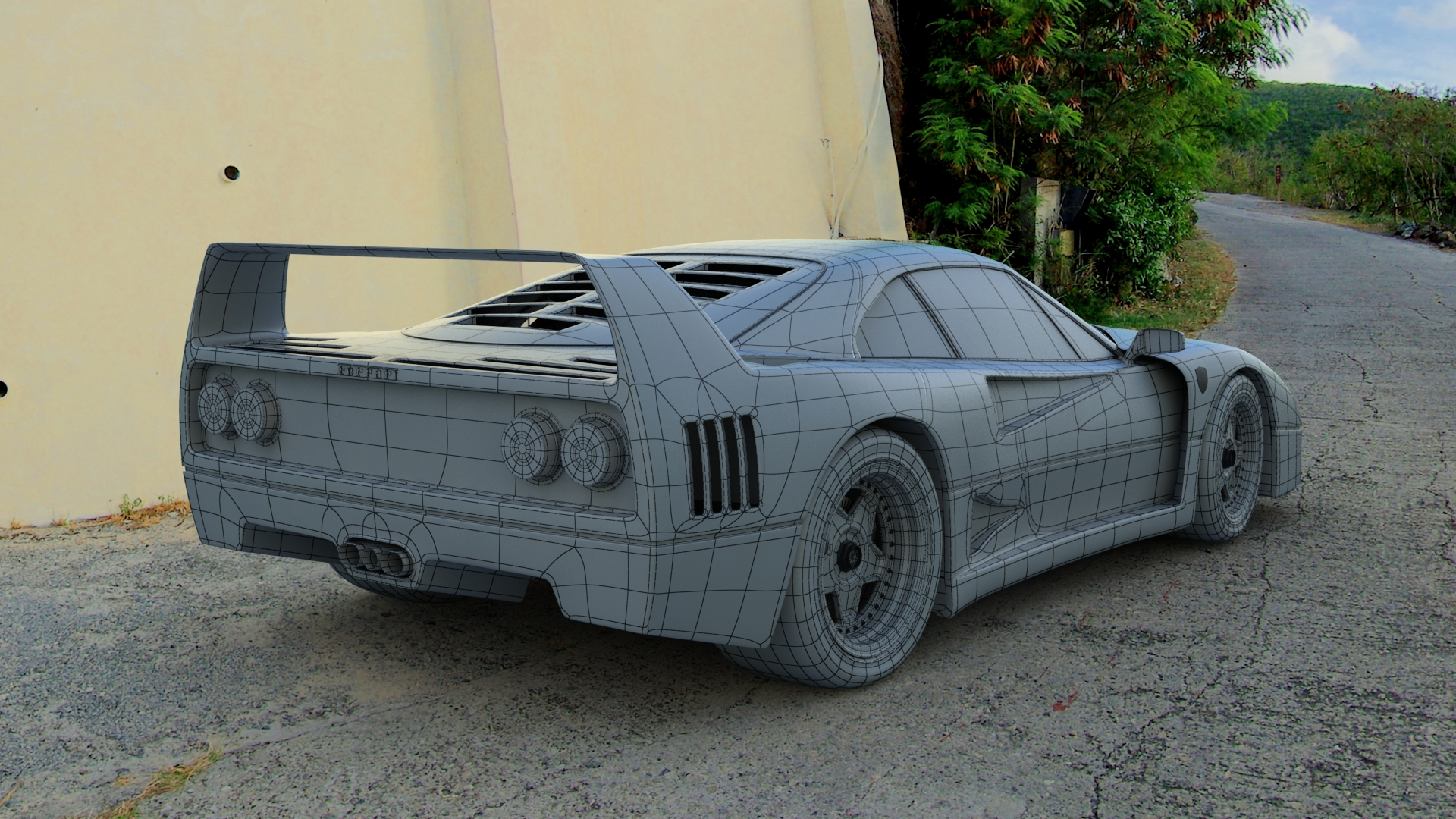 F40 3D model - Rear View Wireframe