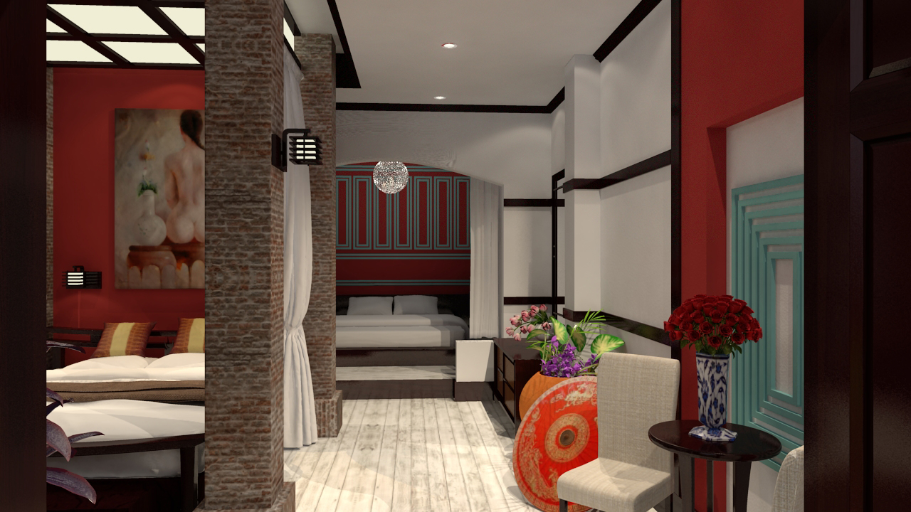 Ancient Asian Hotel Room 3D model