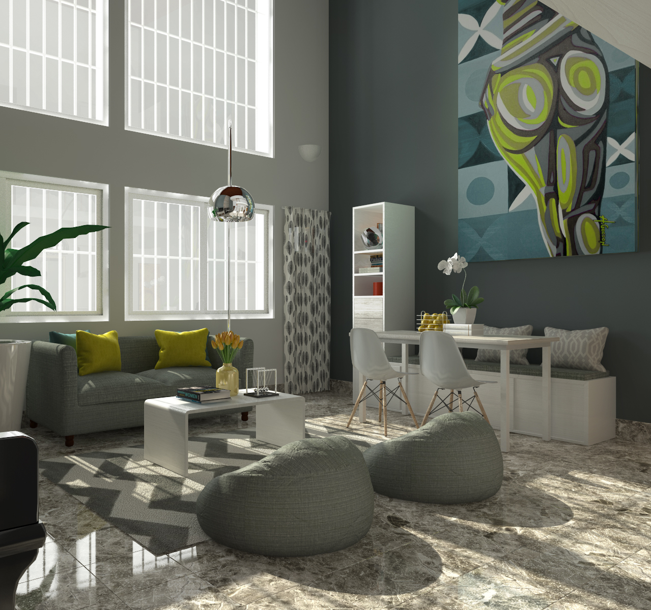 CONTEMPORARY LIVING ROOM 3D model