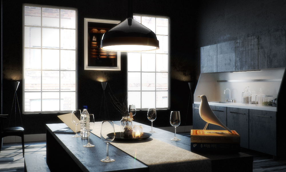 black kitchen 3D model - black kitchen