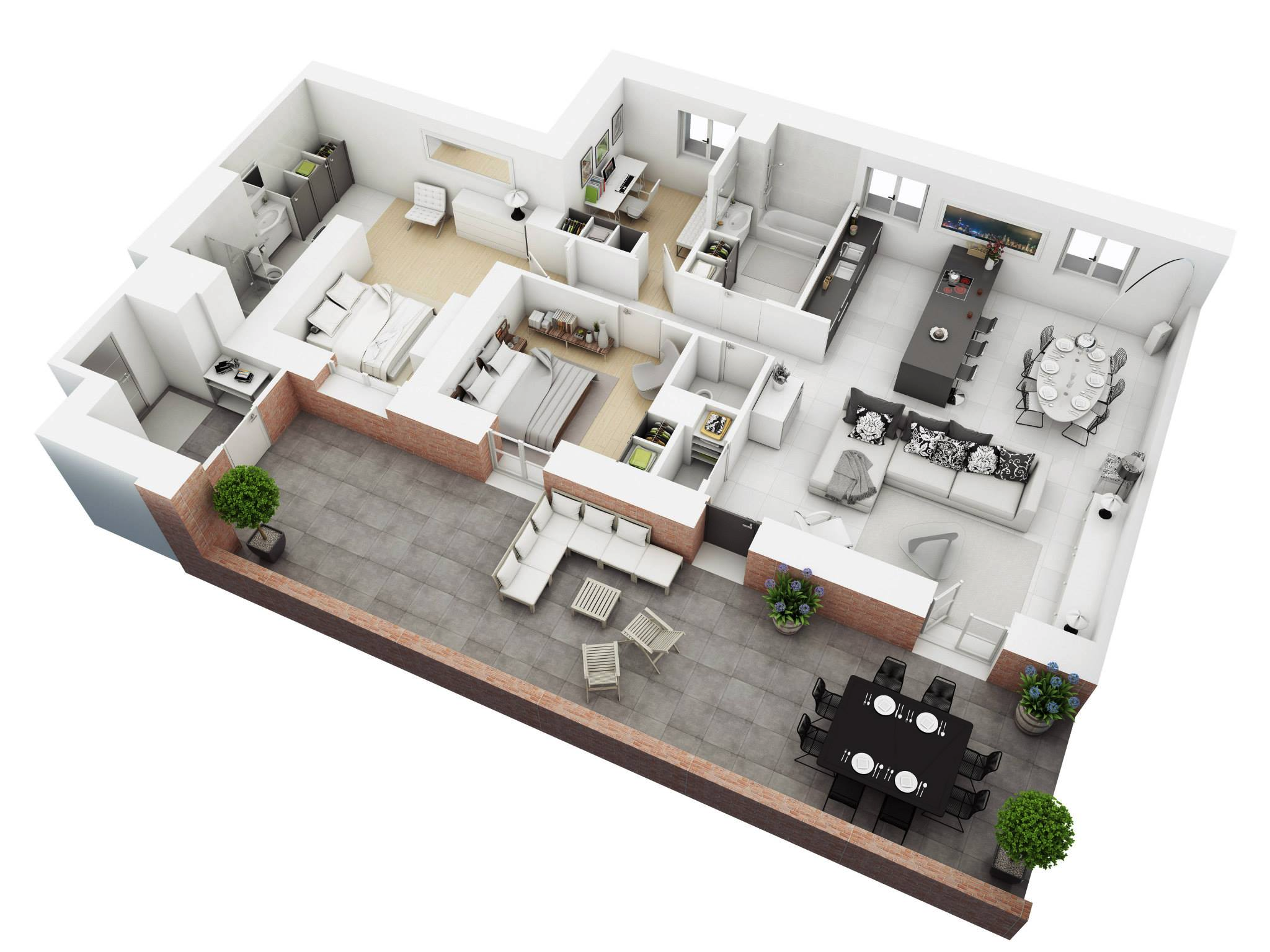 Captivating House Floor Plan 3D Model