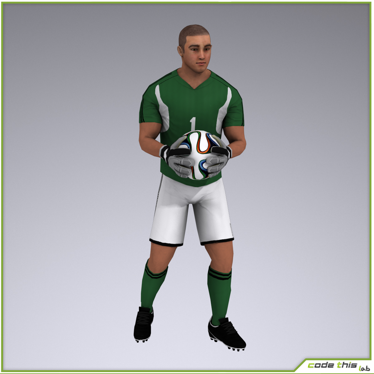 White Soccer Goalkeeper 9609 tris 3D model