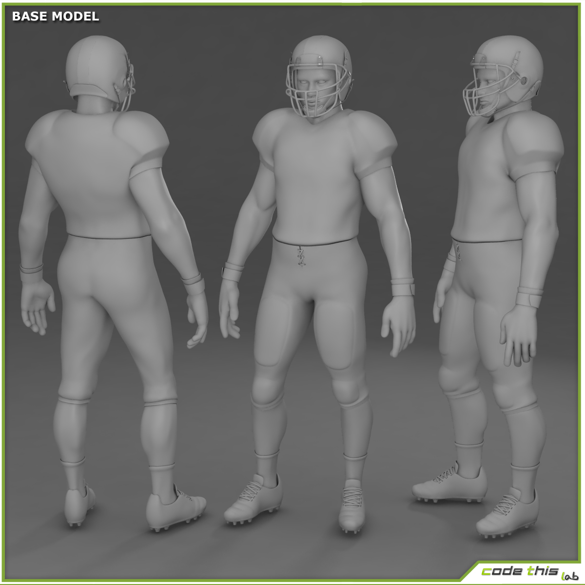Patriots Black American Football Player CG 3D model