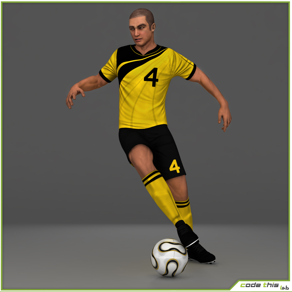 White Soccer Player CG 3D model