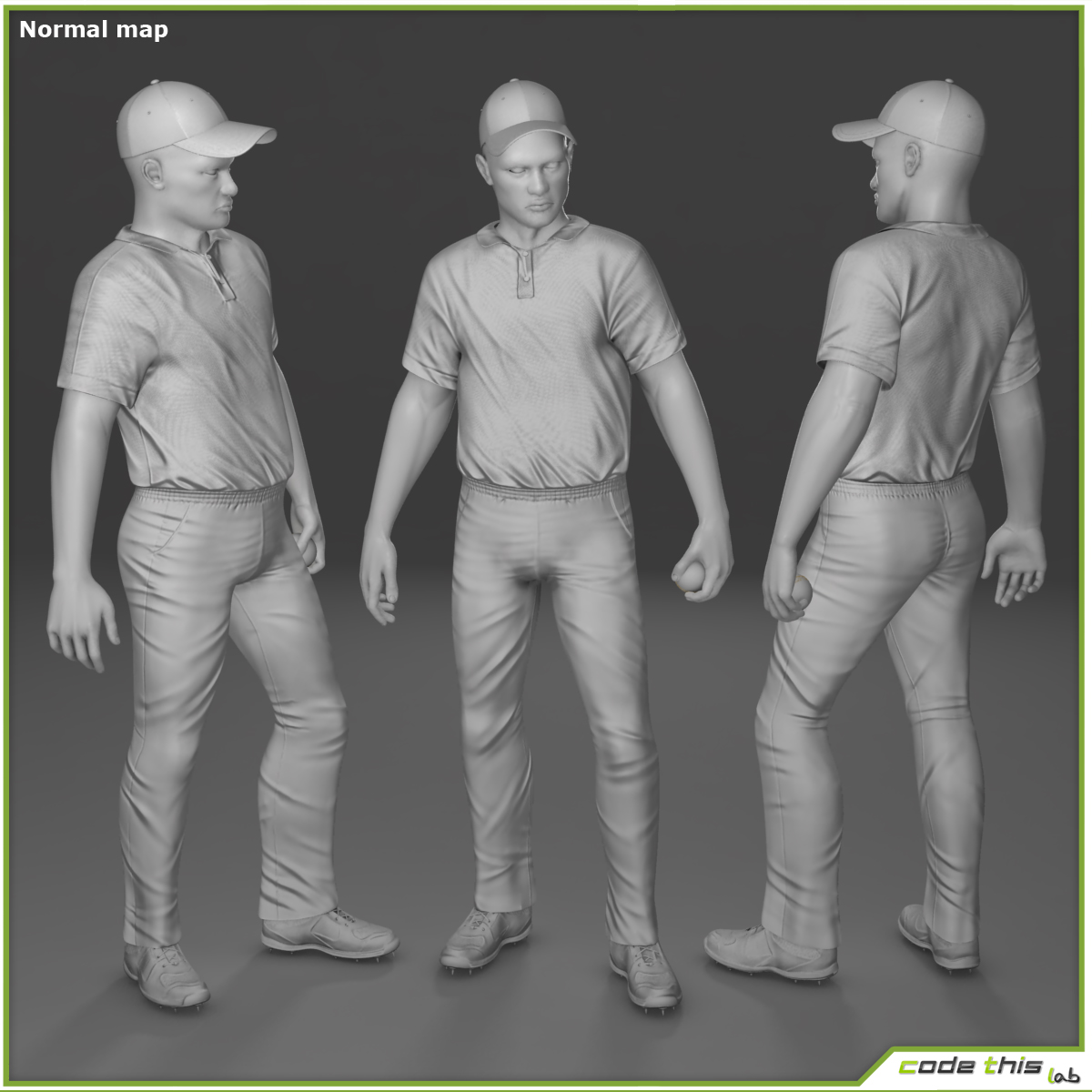 Cricket Player Catcher CG 3D model