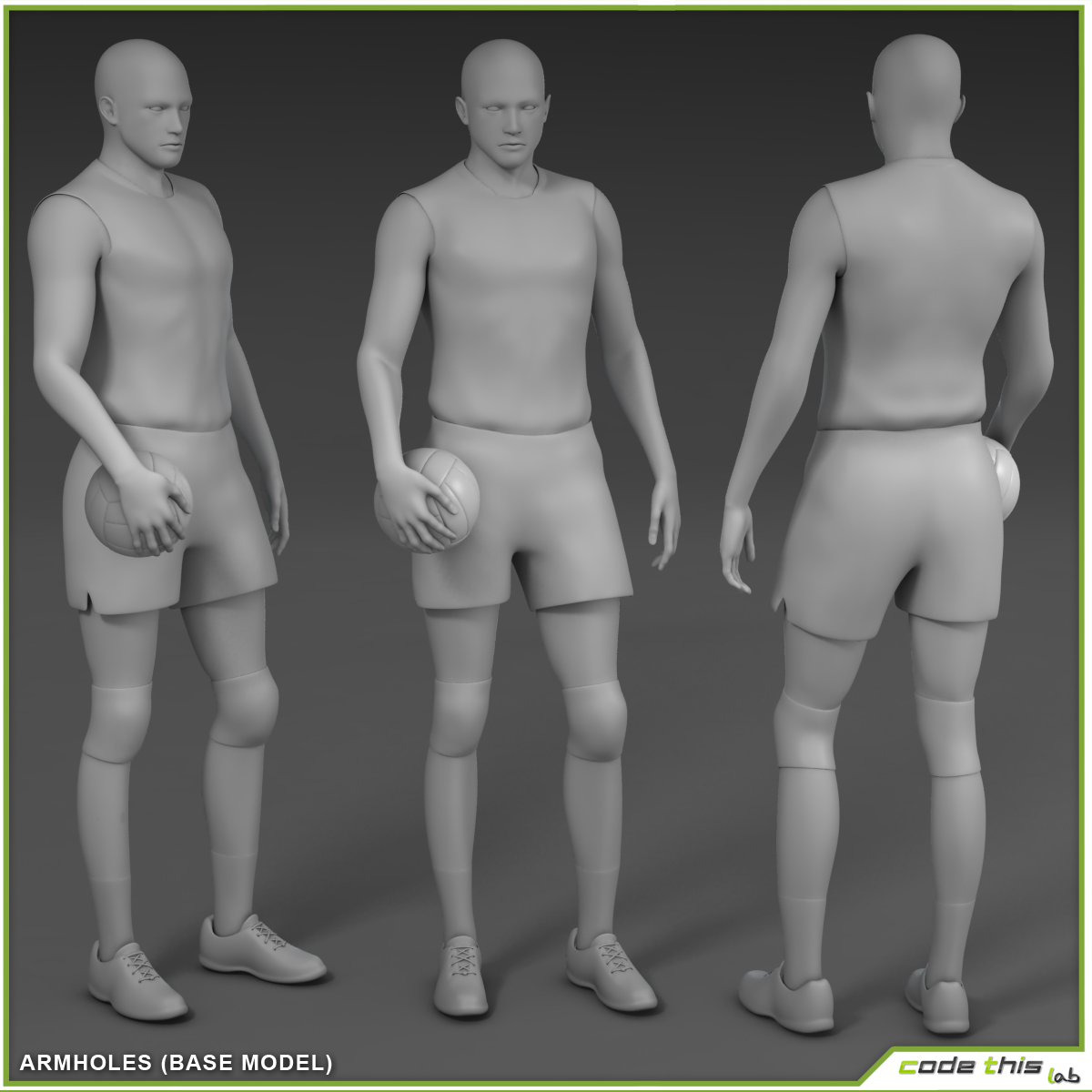 White Volleyball Player CG 3D model