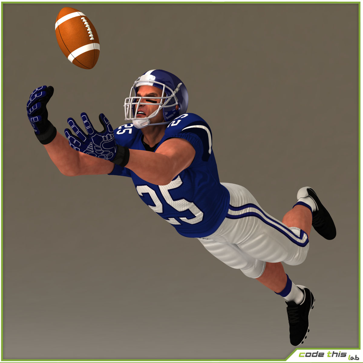White American Football Player CG 3D model