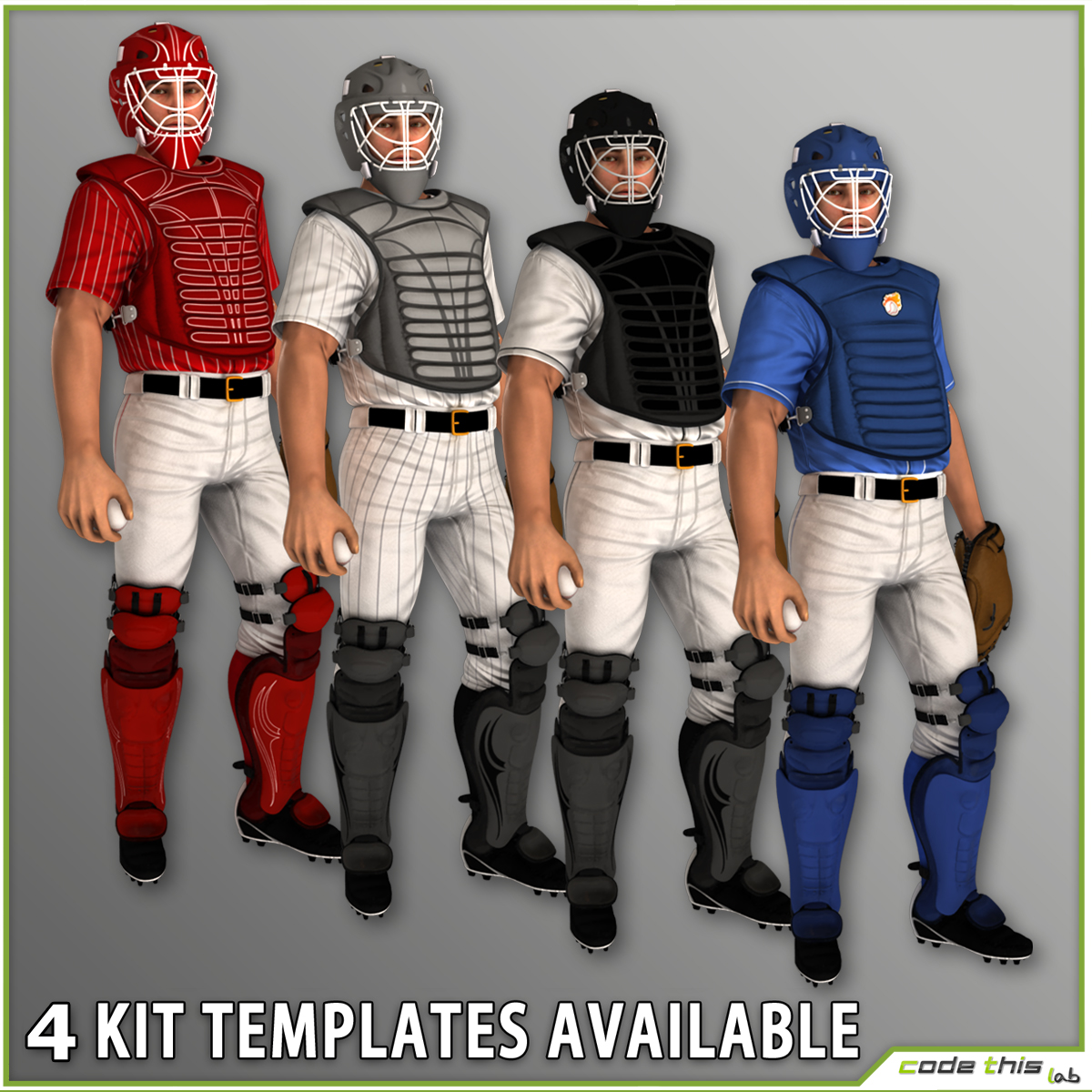 White Baseball Catcher CG 3D model