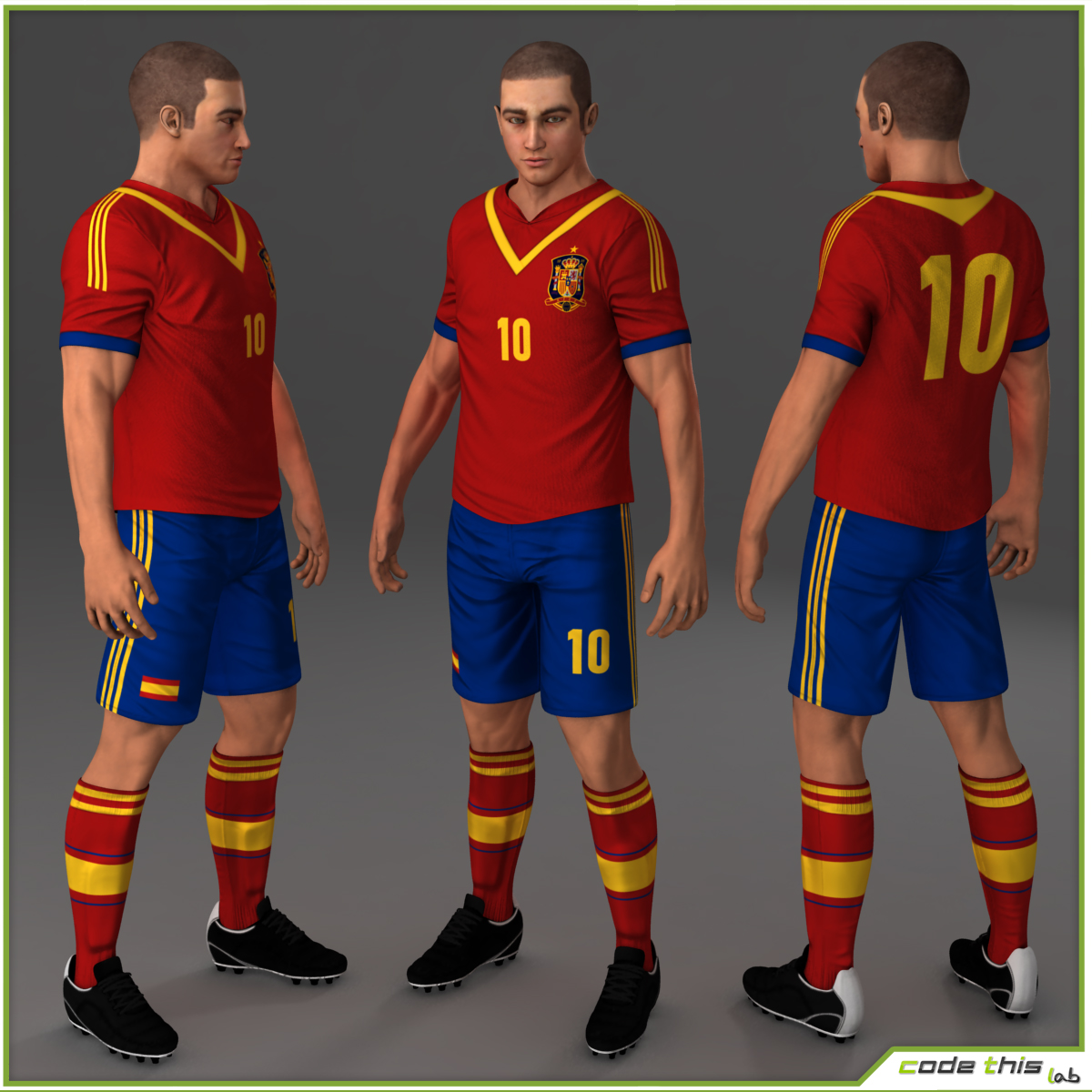 Soccer Player Spain CG 3D model