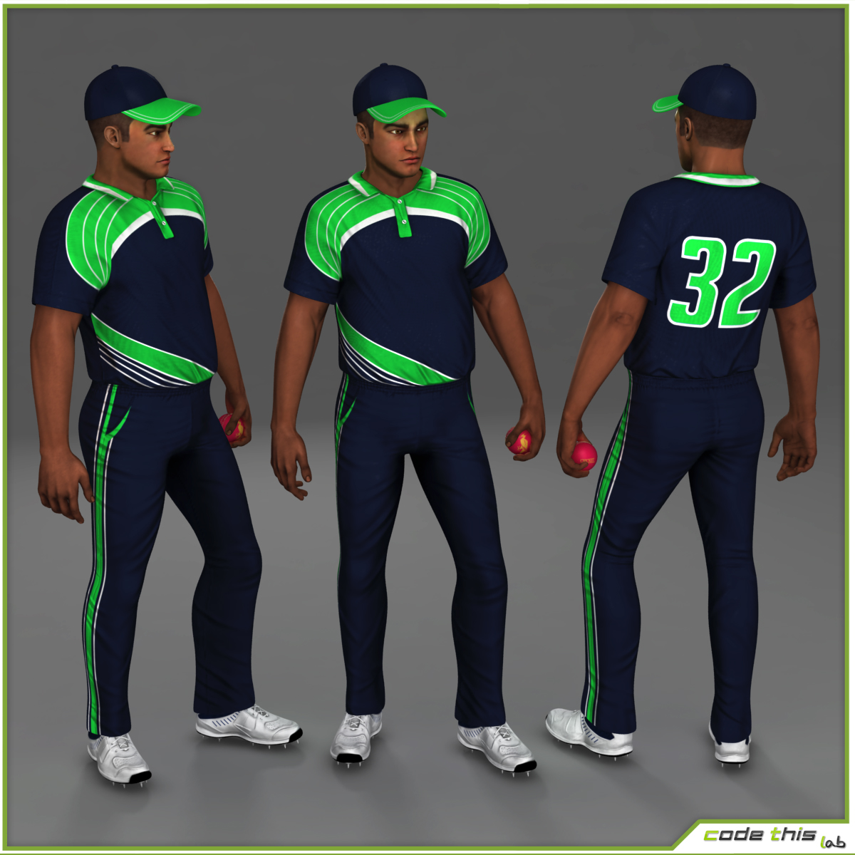 Cricket Player Bowler CG 3D model