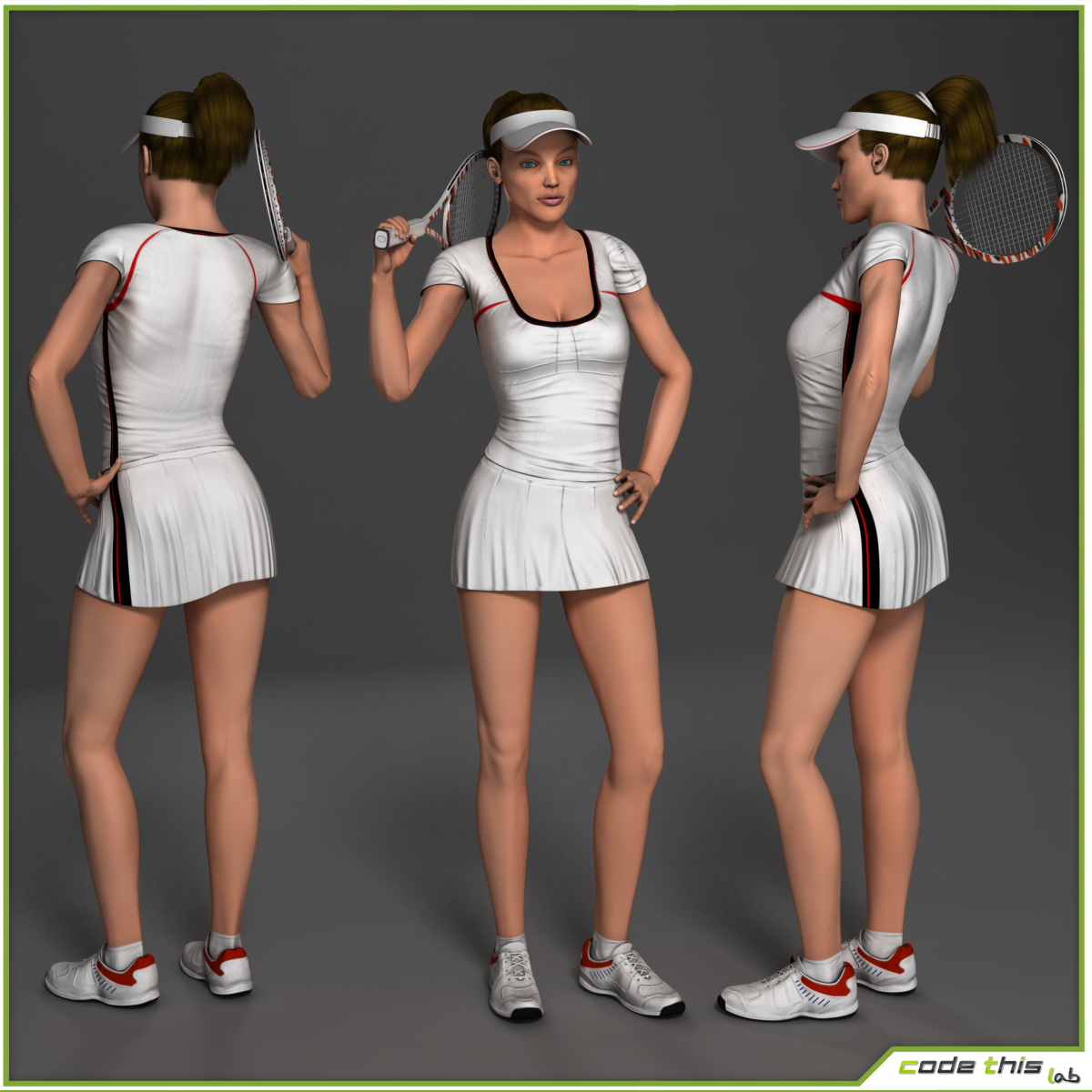 White Female Tennis Player CG 3D model