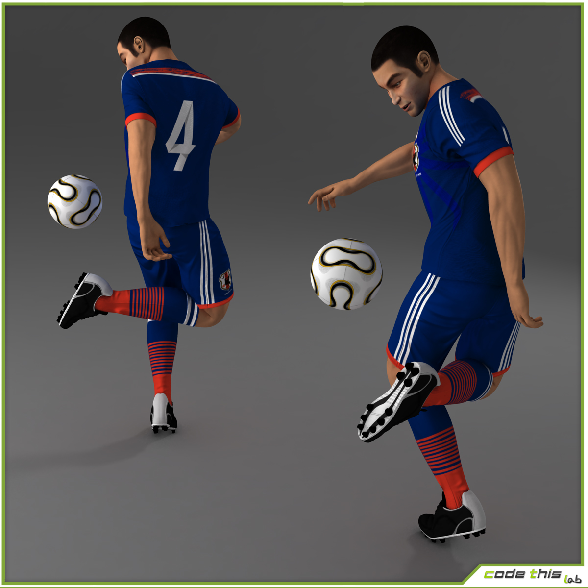 Soccer Player Japan CG 3D model