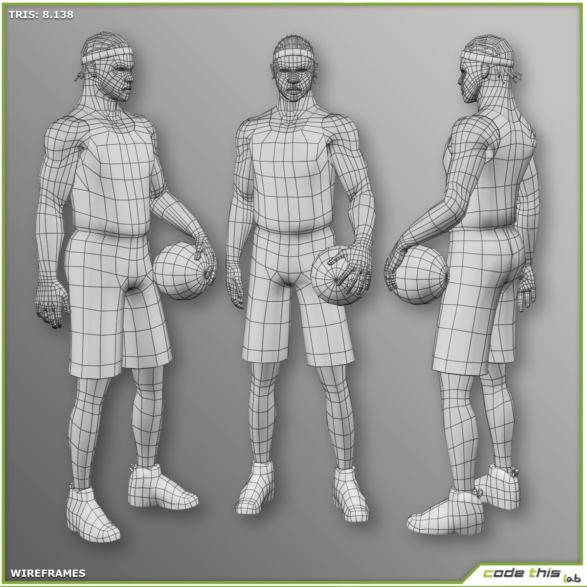 Black Basketball Player 8138 tris 3D model