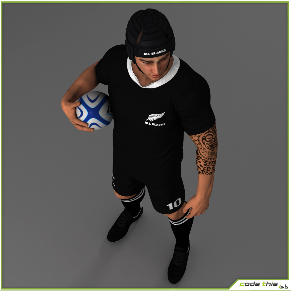 White Rugby Player CG 3D model