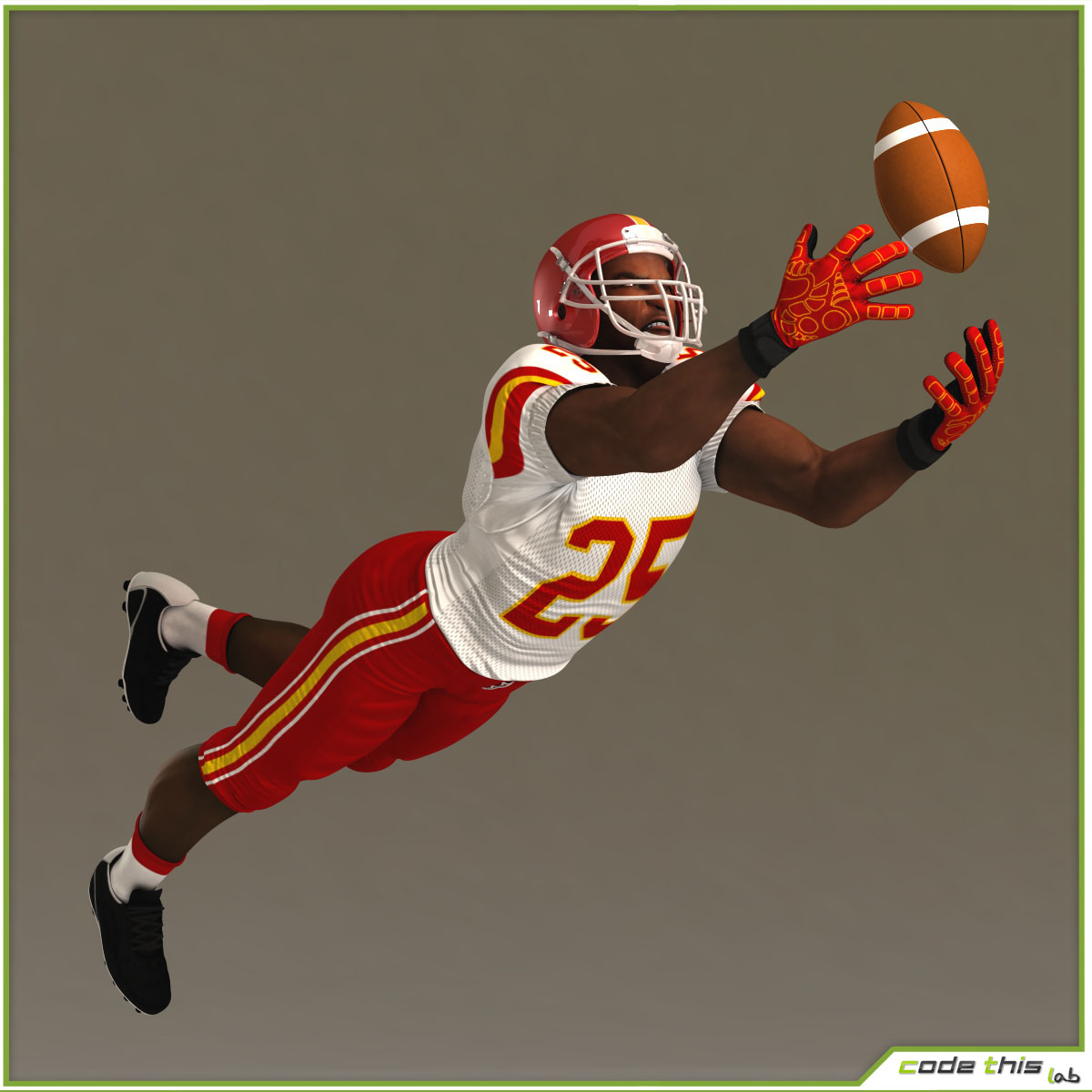 Black American Football Player CG 3D model