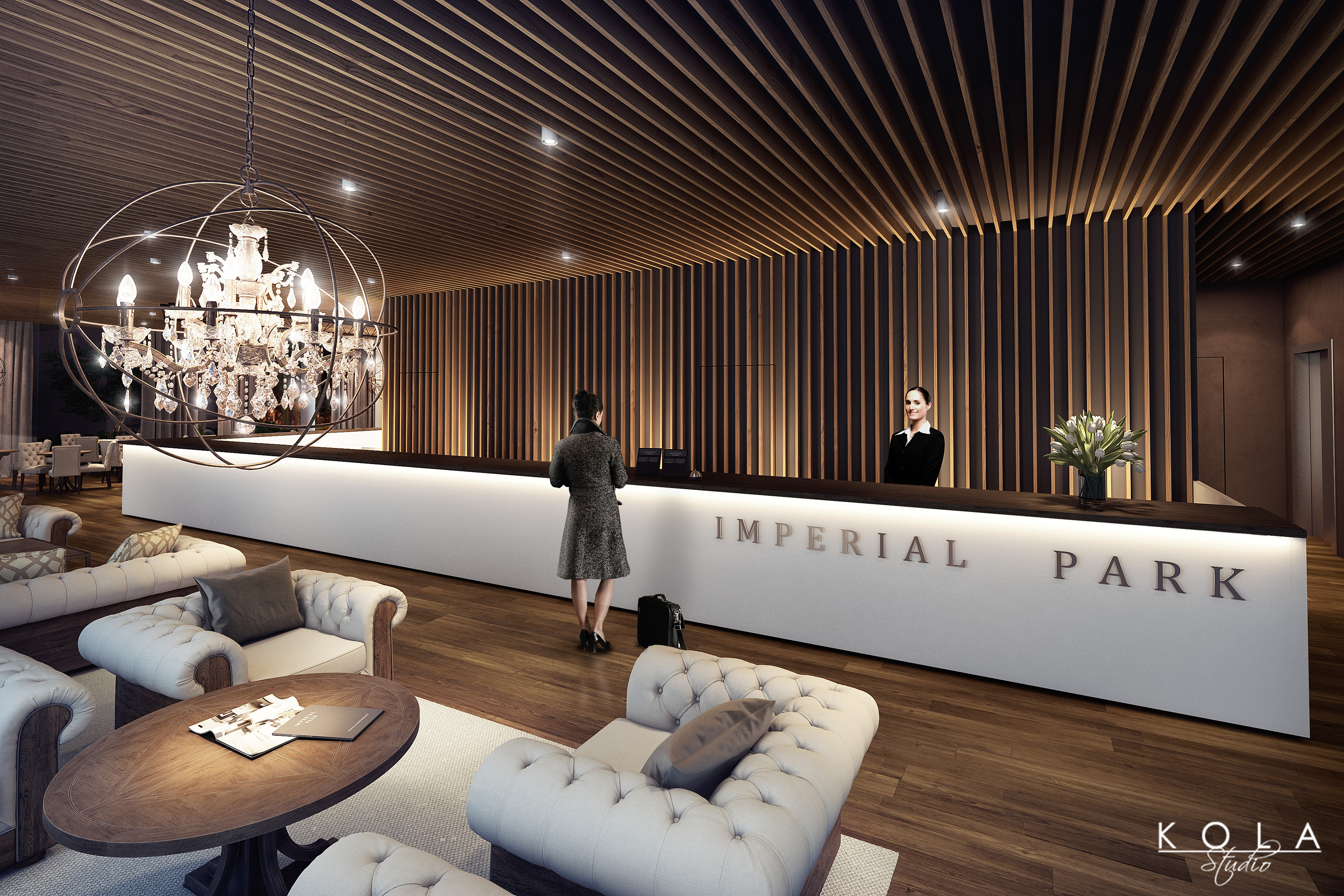 Imperial Park Hotel - interiors 3D model - Hotel reception with lobby area