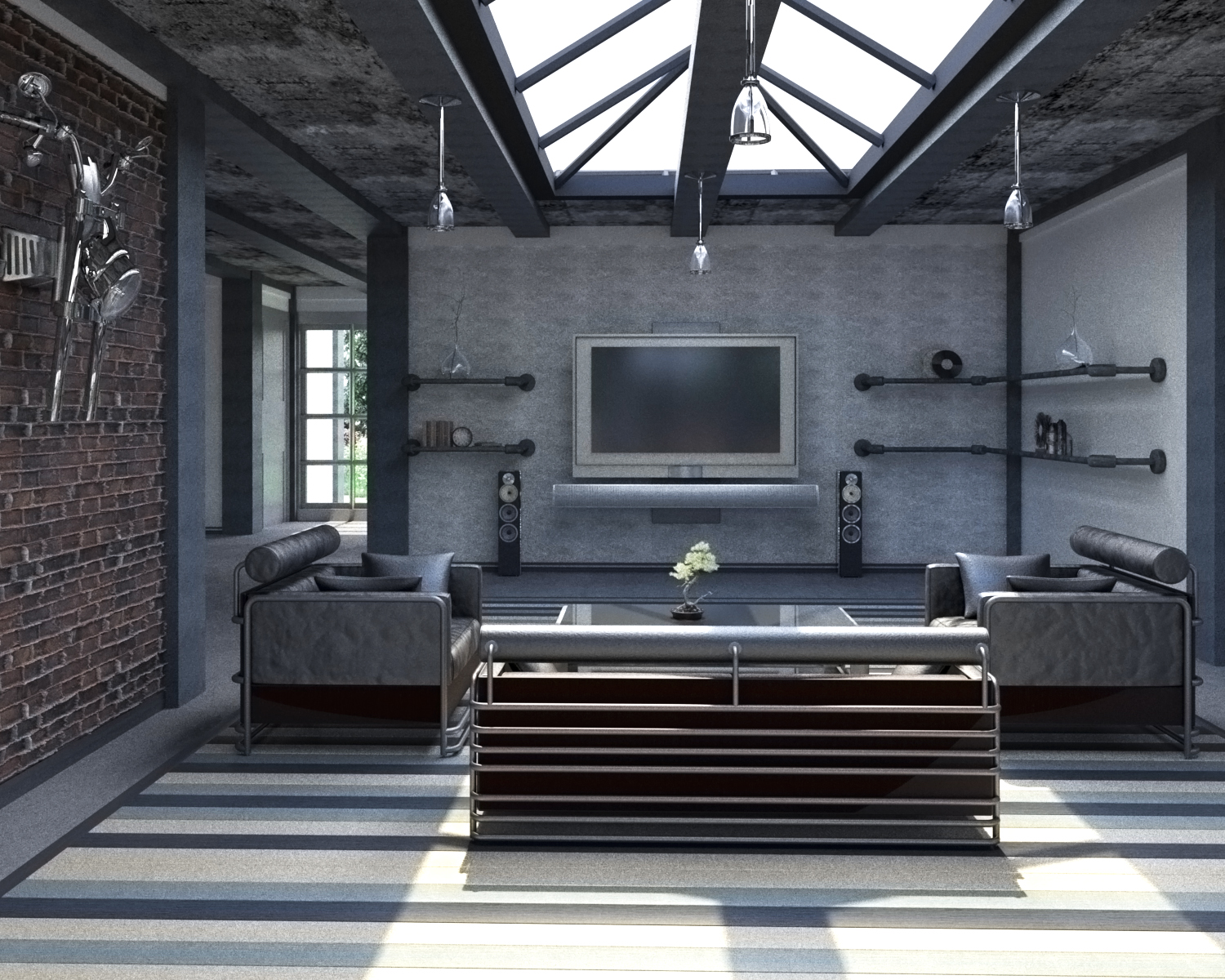 Interior renders 3D model - Living room
