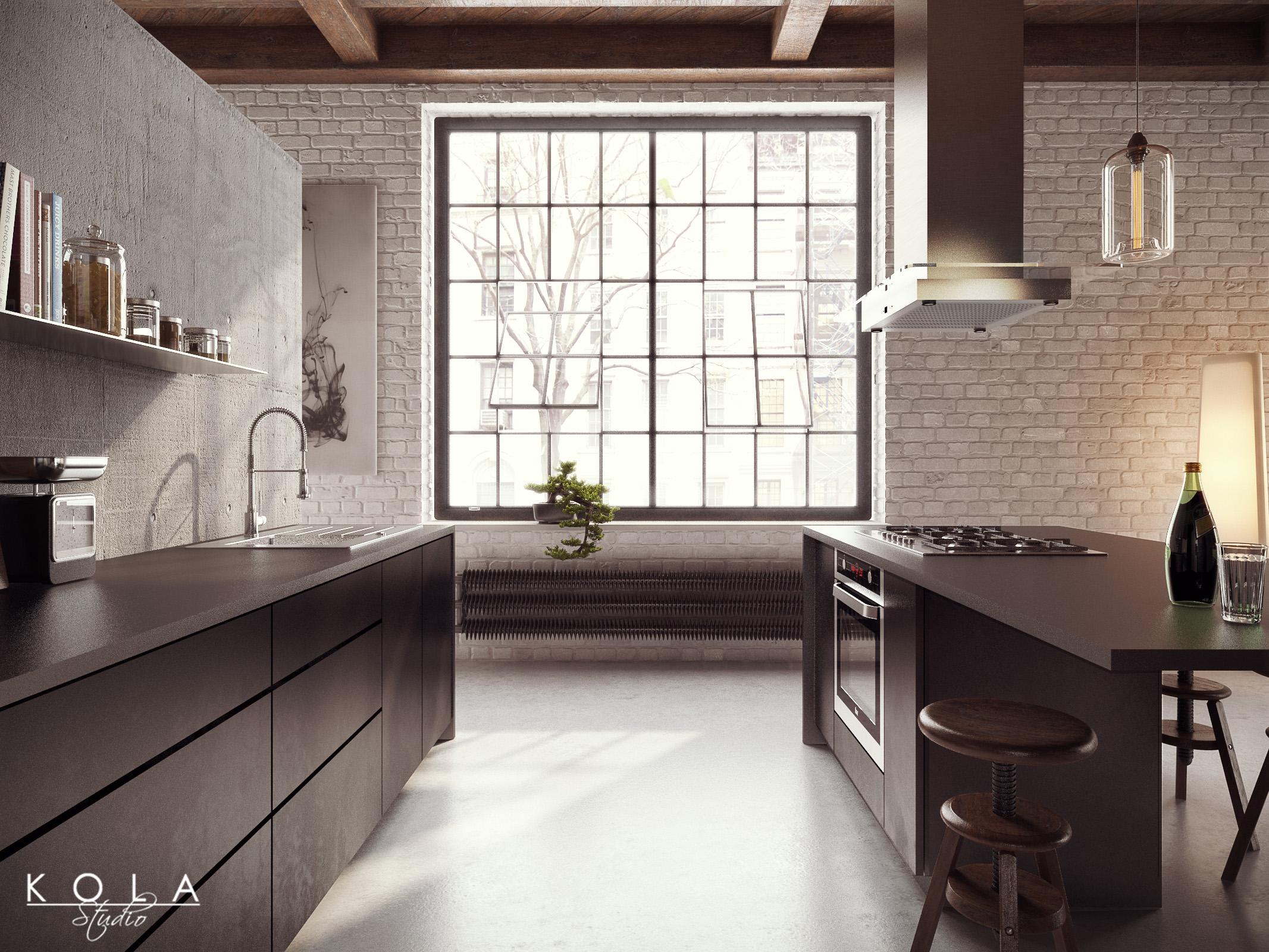 Visualization Of A Loft Kitchen 3D Model   Industrial Style Kitchen