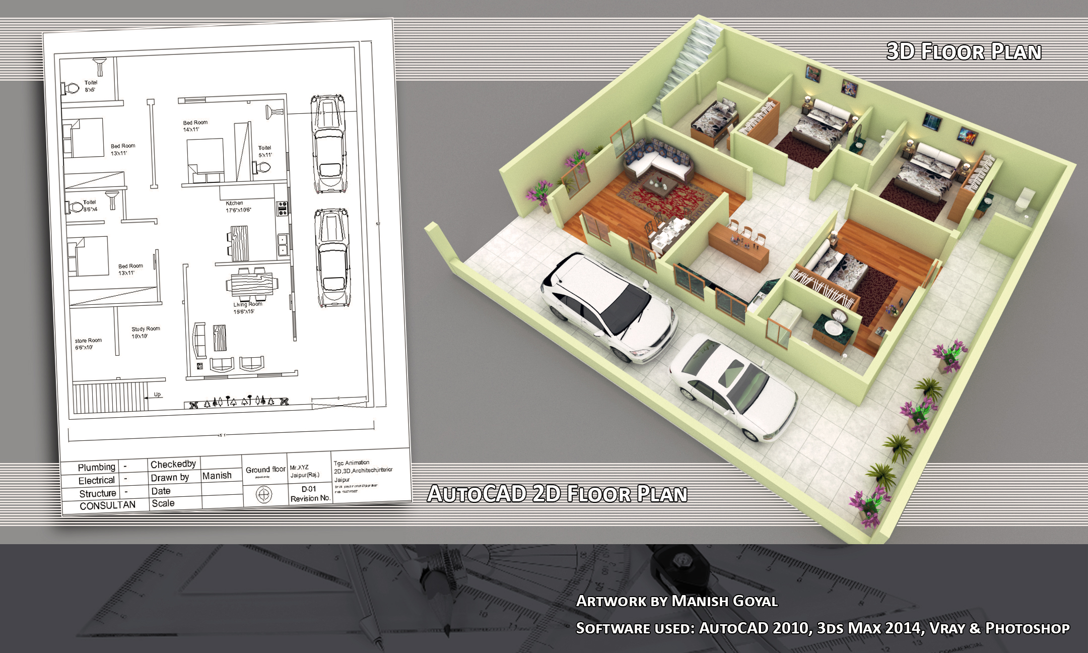 3 D Work 3d Model A 2d 3d Floor Plan Design By Using Software
