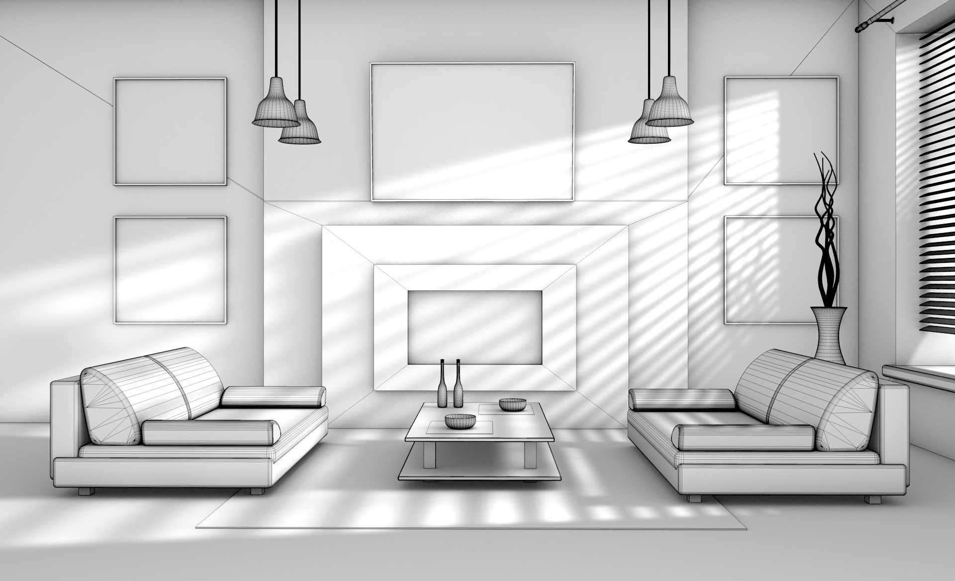 Interior design 3D model - Polygonal mesh of daylight version