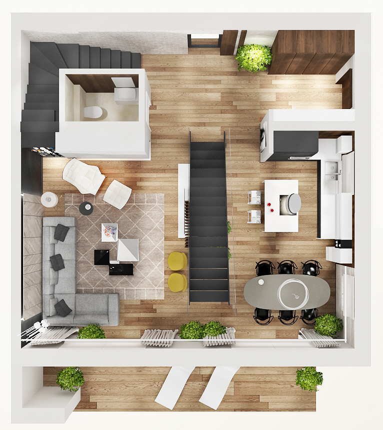 Interior Solutions Of Apartments And 3d Presentations 3D Model   Apartment    Ground Floor