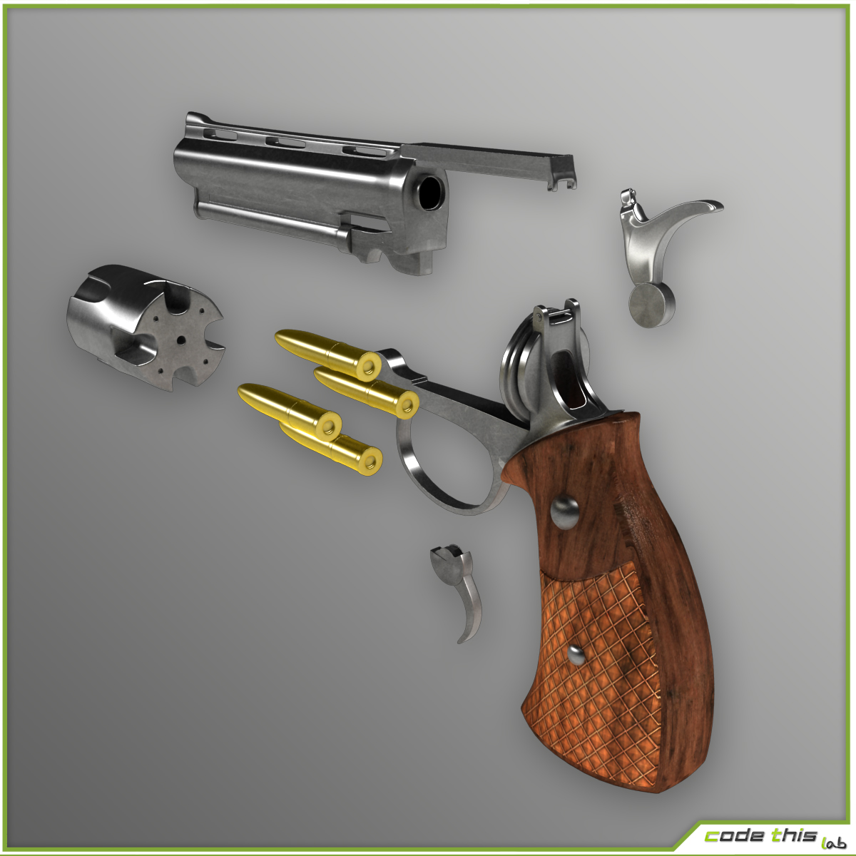 Animated Pistol 3D 3D model