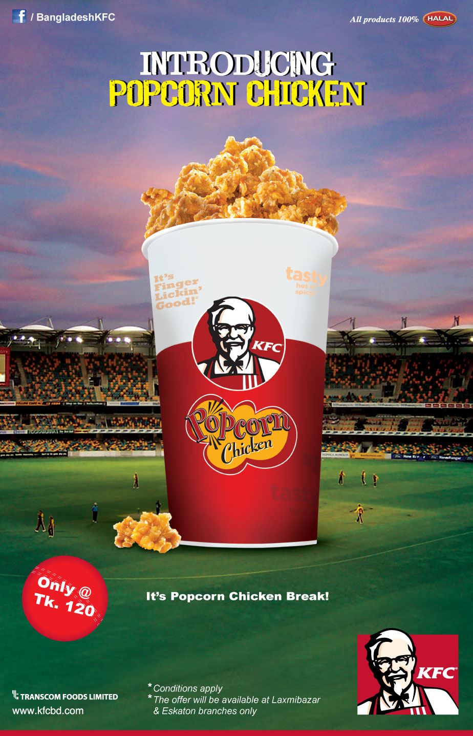 Showcasing Product Visualization here 3D model - KFC Promotional Graphics,2D+3D Combined