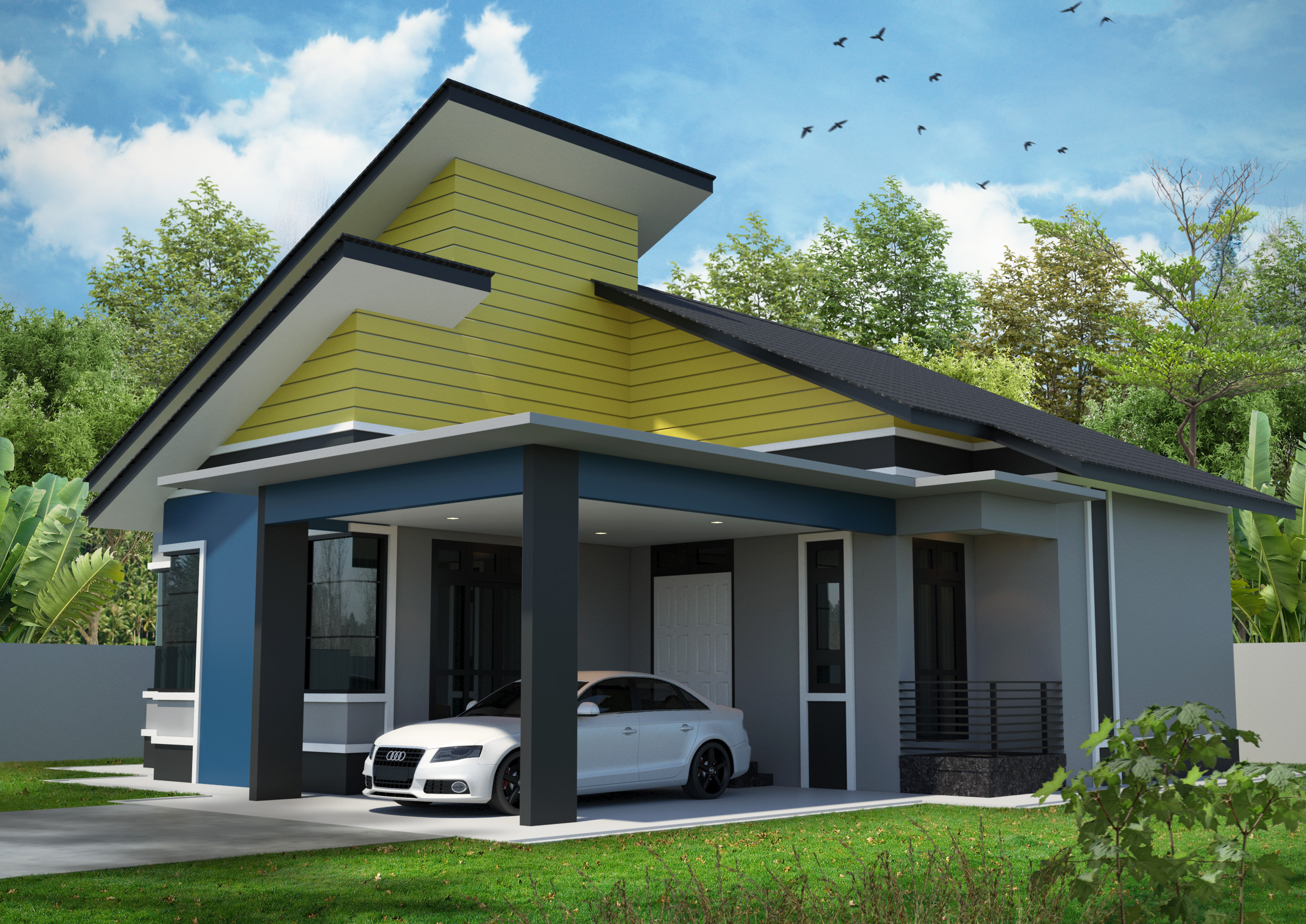 Single storey modern house 3d model right view