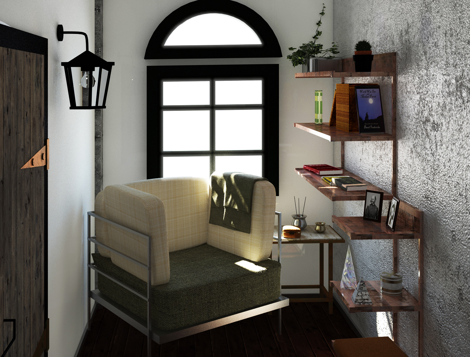 Interior renders 3D model - Reading corner study