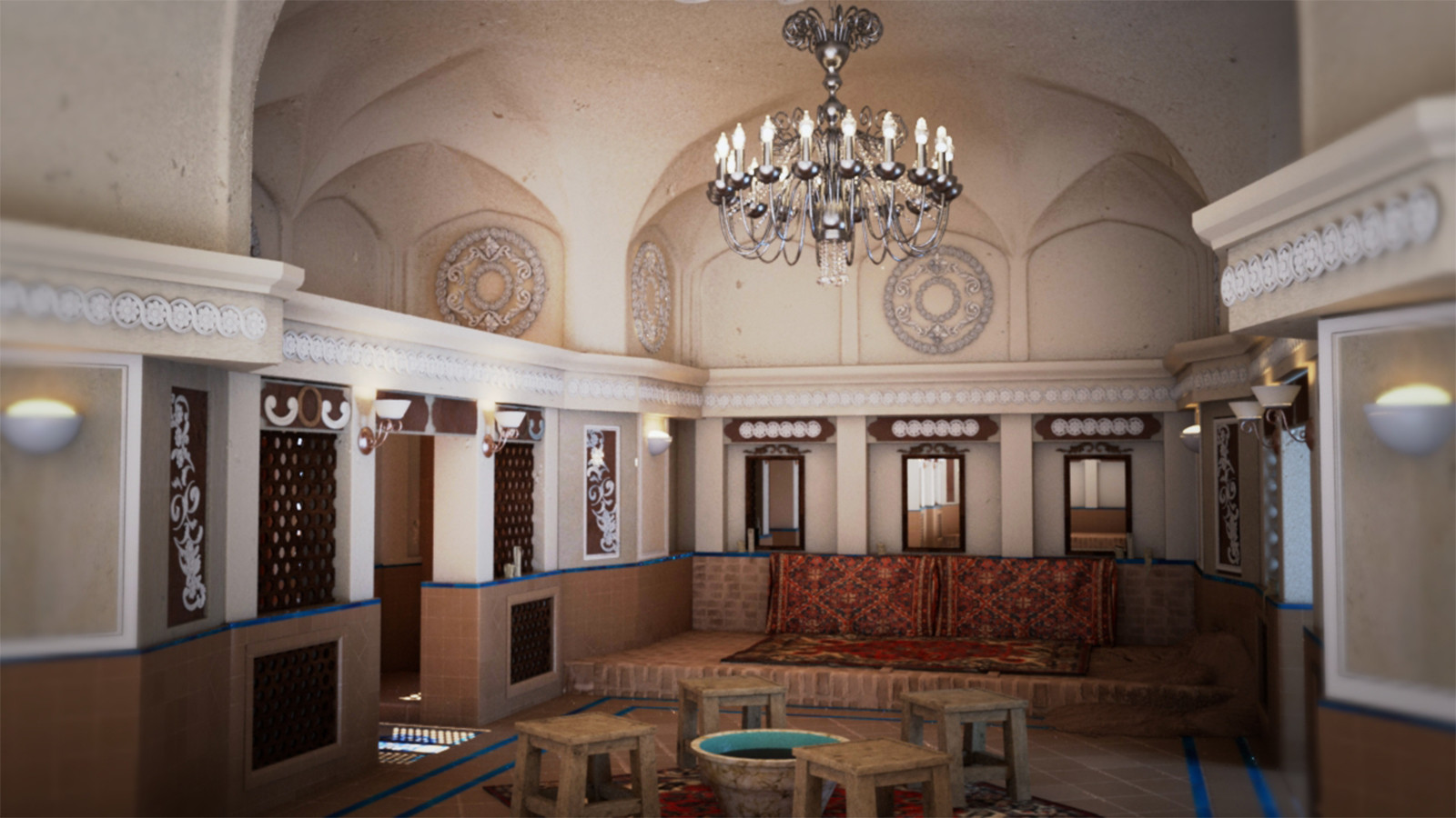 Interior Iranian Old Building 3D Model