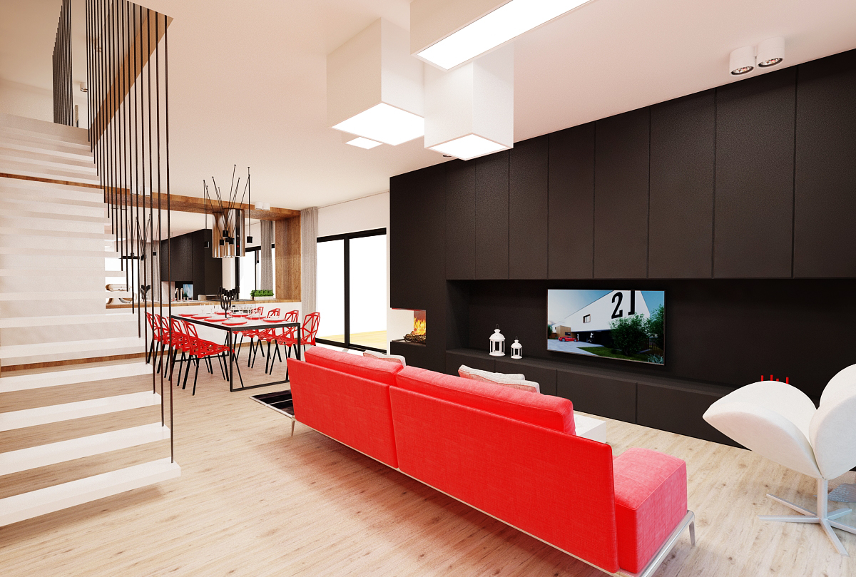 projekt salonu otwartego na jadalnia i kuchnia freelancers 3d