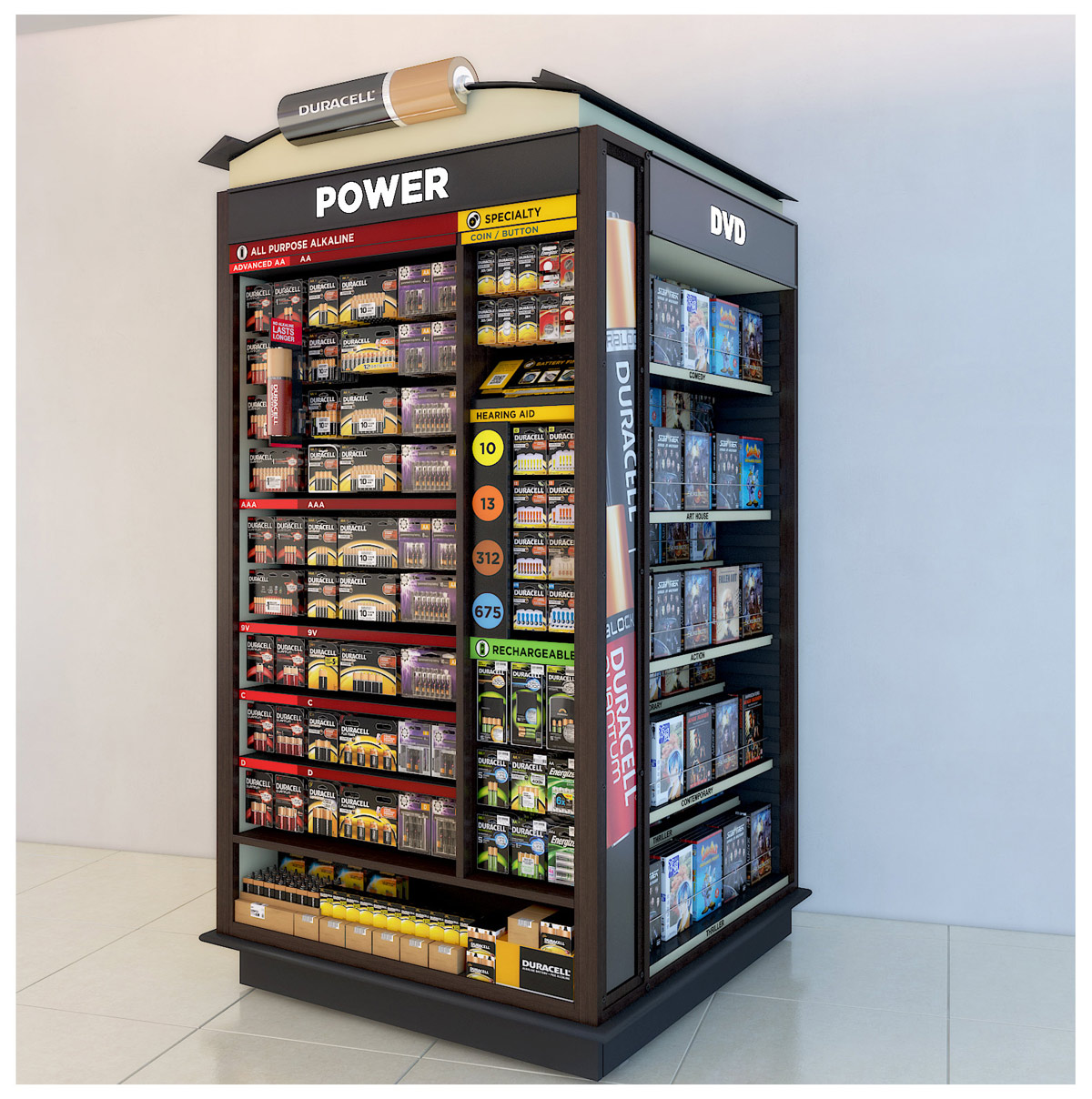 Shopping Mall Endcaps and Showcases 3D model - Wallmart Endcap for Duracell