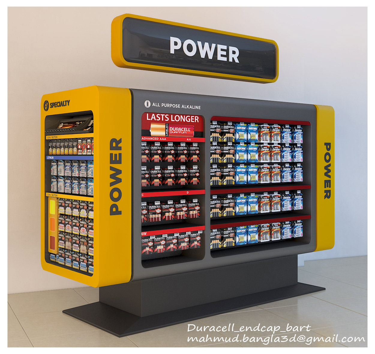 Shopping Mall Endcaps and Showcases 3D model - Showcase for Duracell