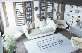 Scandinavian style room 3D model