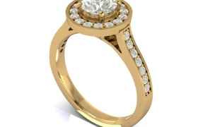 Solitaire halo engagement Ring 3D model